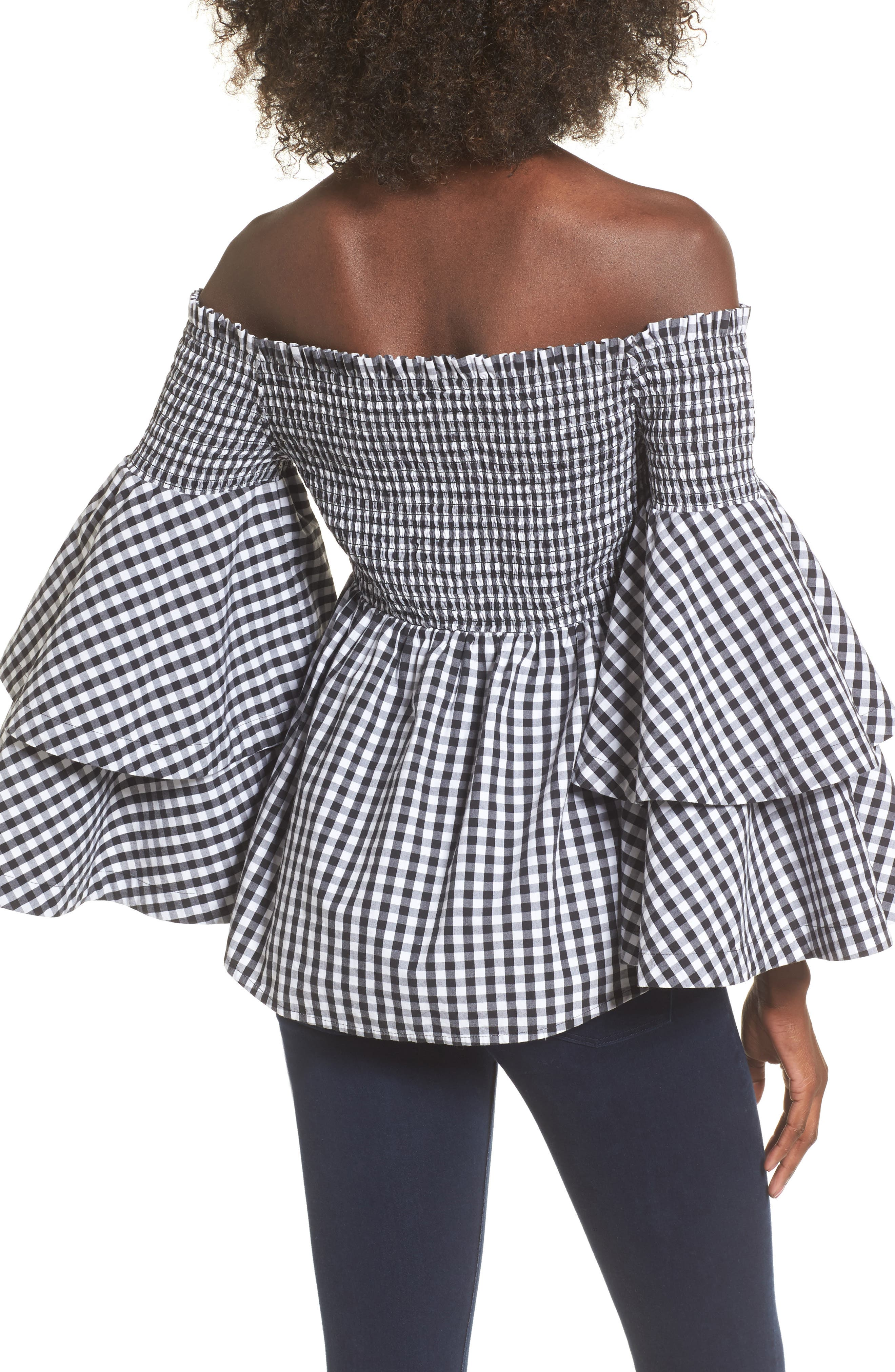 Ruffle Sleeve Off the Shoulder Top,                             Alternate thumbnail 3, color,