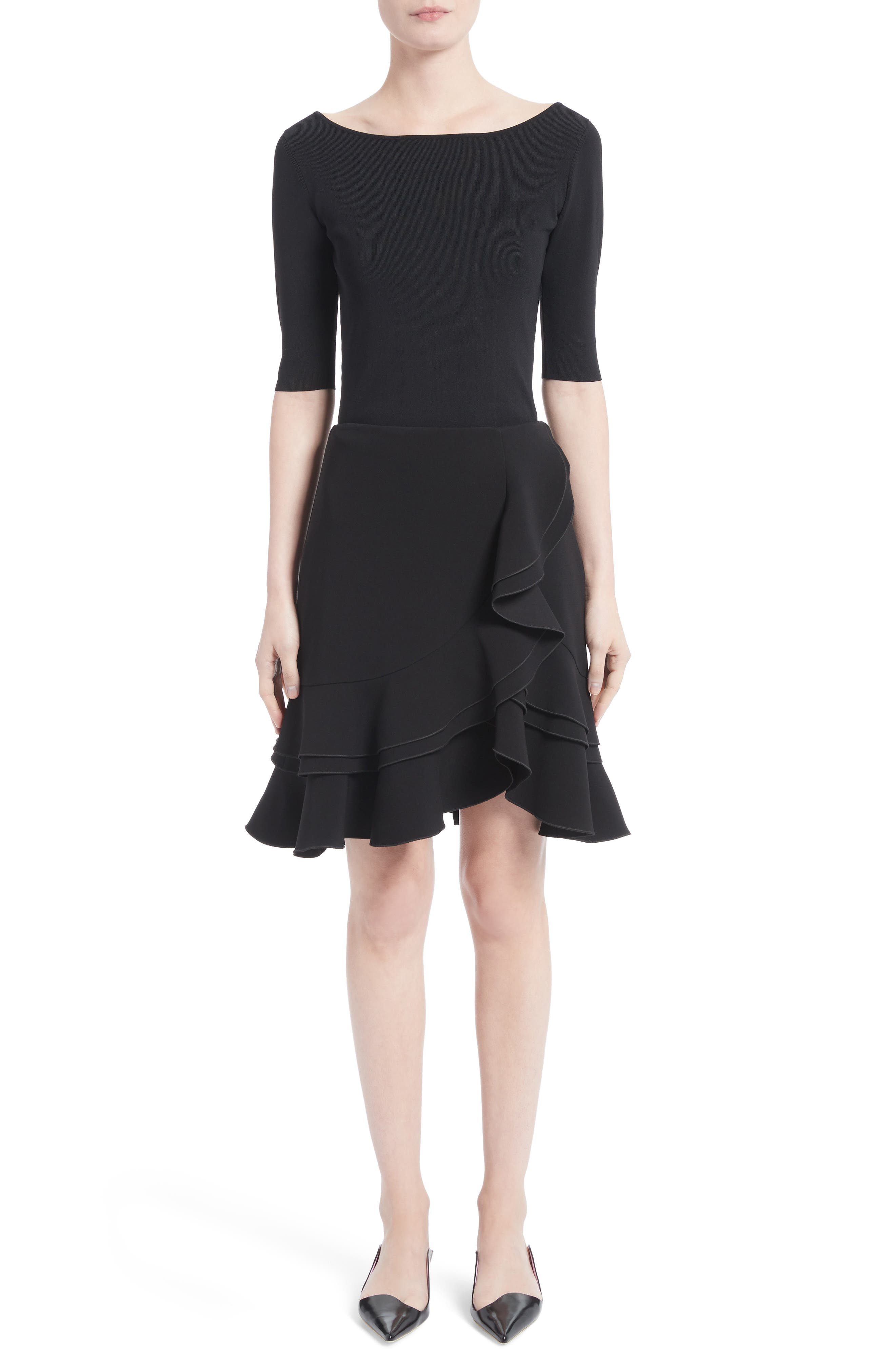 Ruffle Stretch Cady Skirt,                             Alternate thumbnail 6, color,                             001