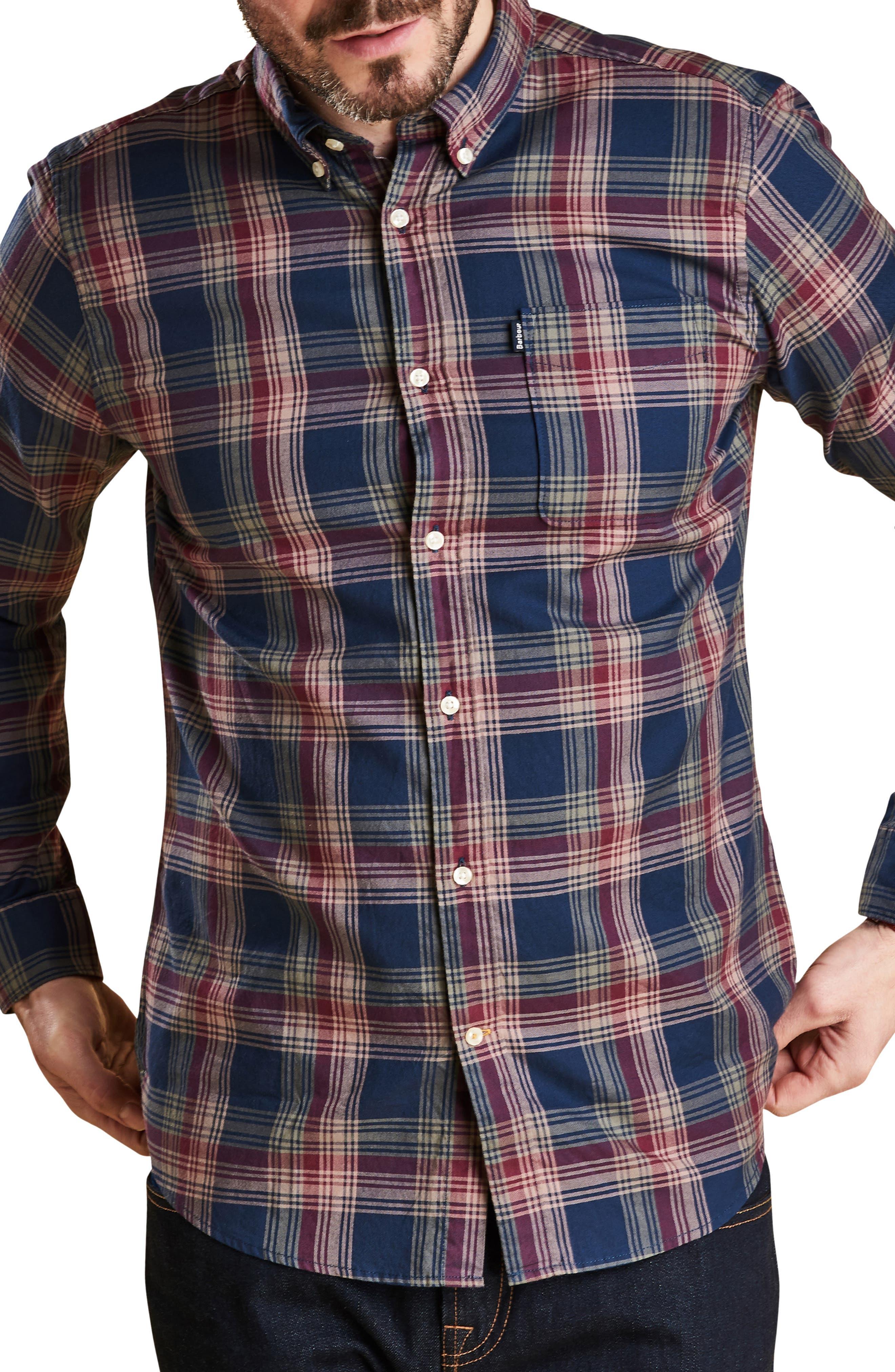 Endsleigh Highland Check Woven Shirt,                         Main,                         color, NAVY