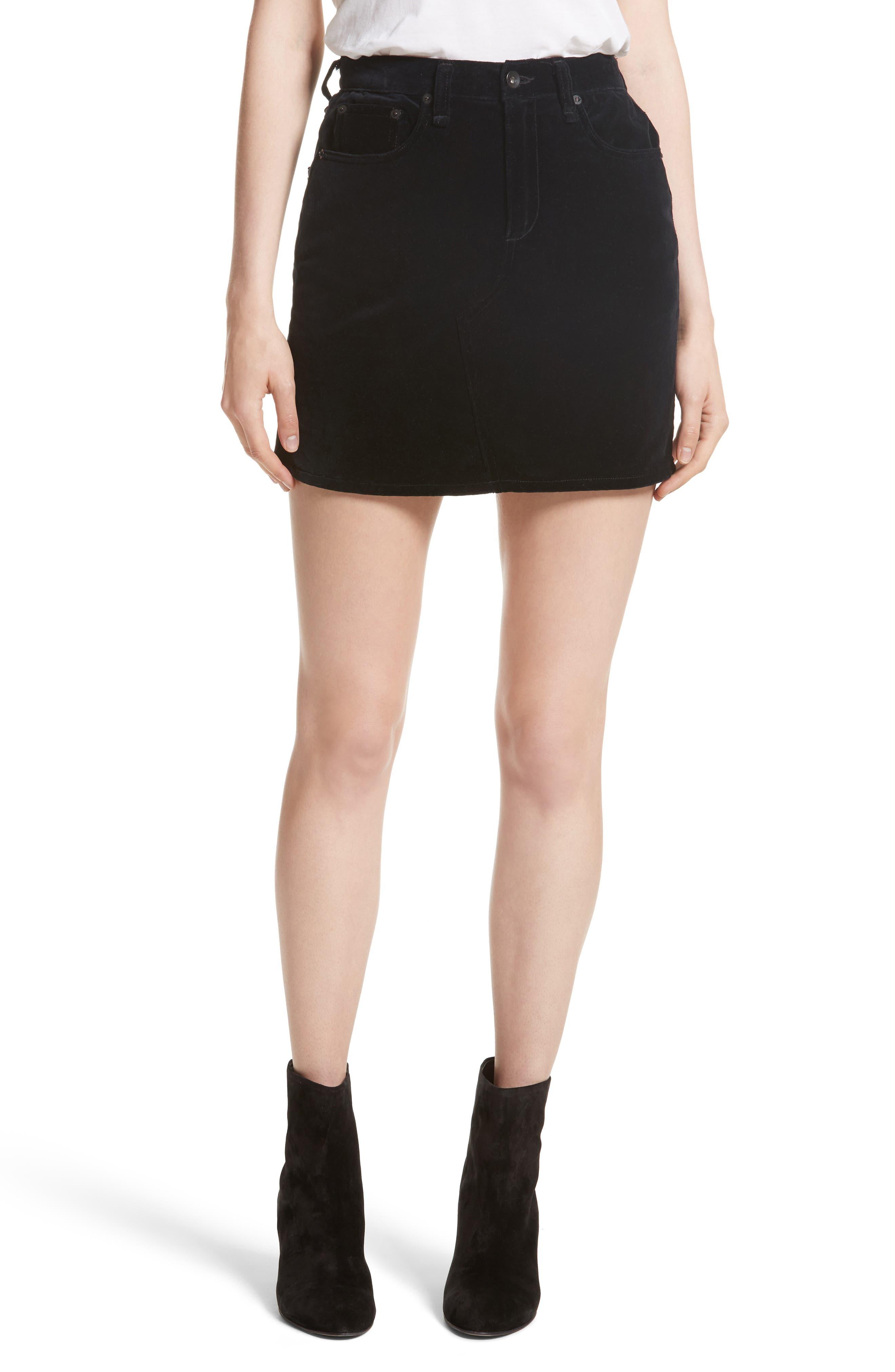 Dive Velvet Miniskirt,                         Main,                         color, 001