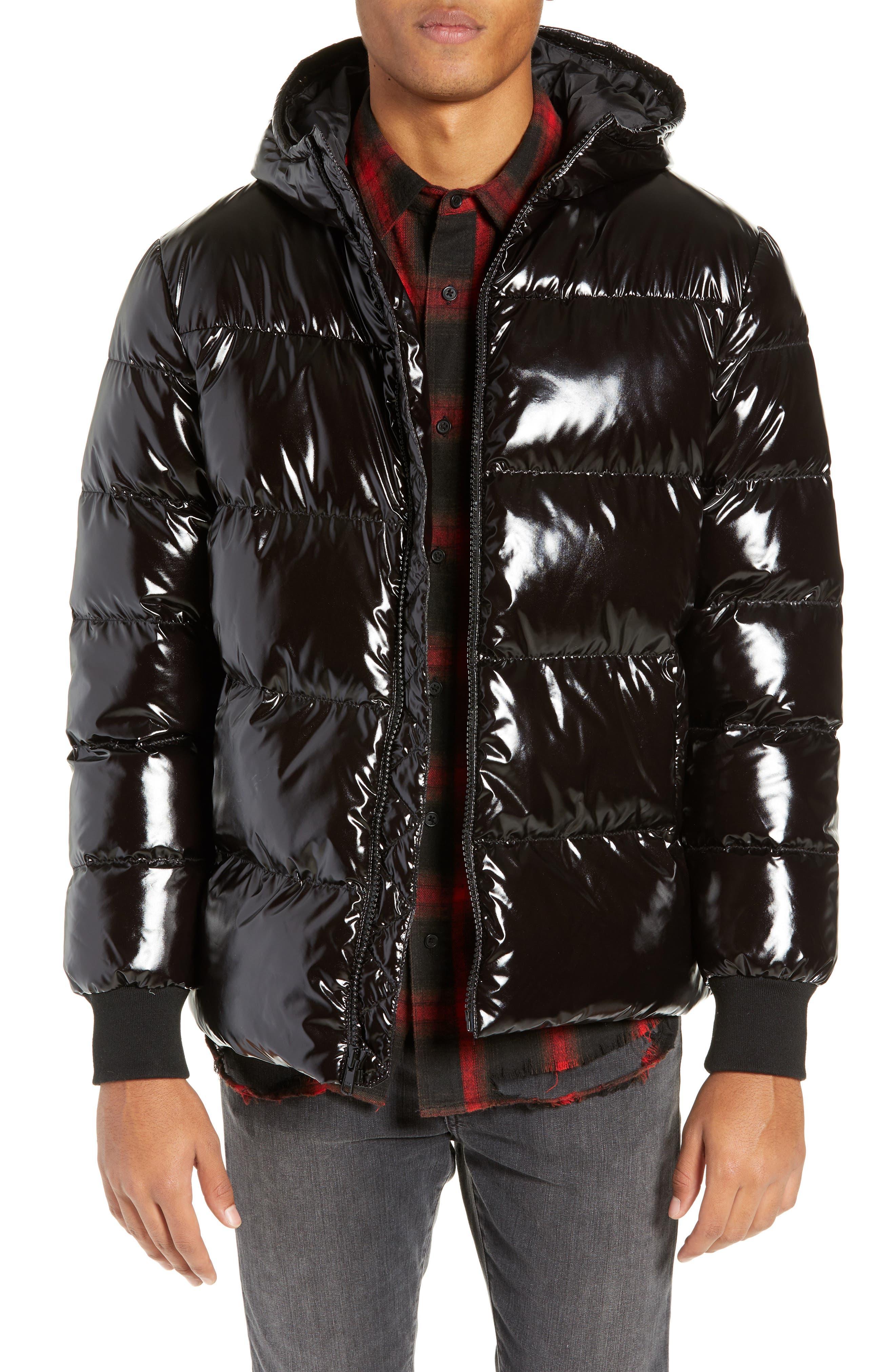 Hooded Puffer Jacket,                             Main thumbnail 1, color,                             BLACK ROCK
