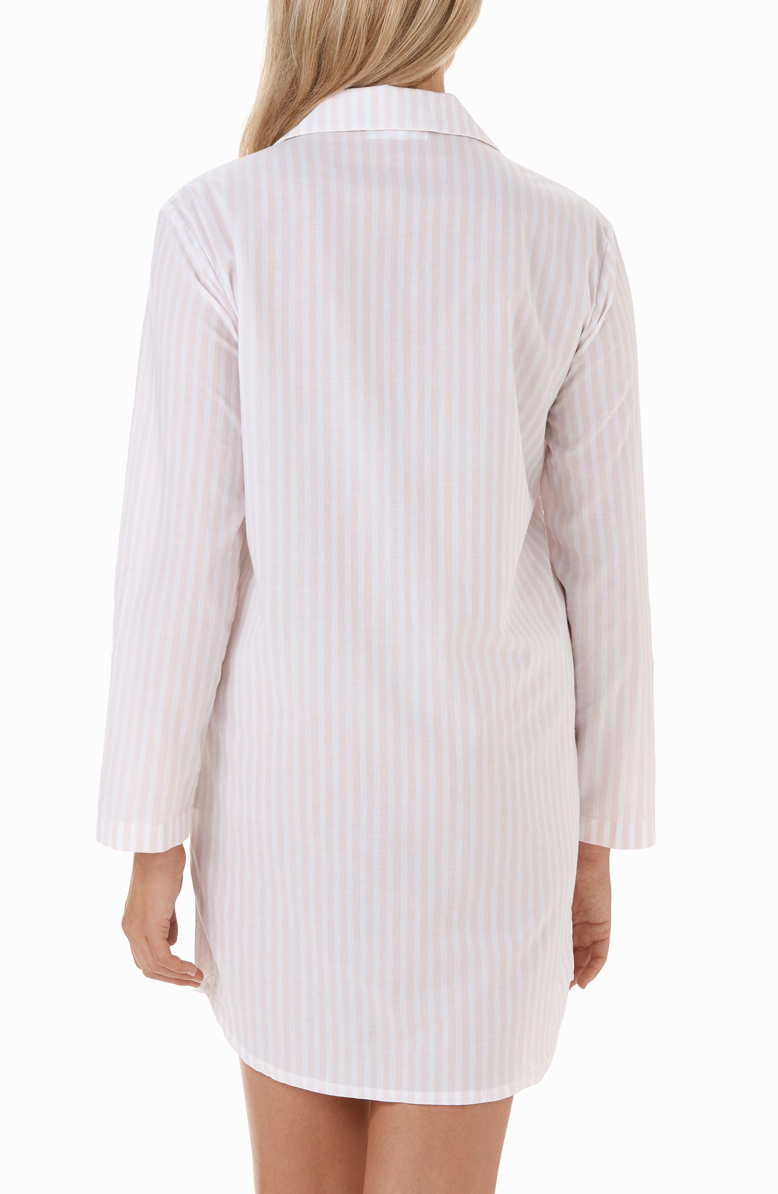 Stripe Cotton Sleep Shirt,                             Alternate thumbnail 2, color,                             PINK / WHITE STRIPE