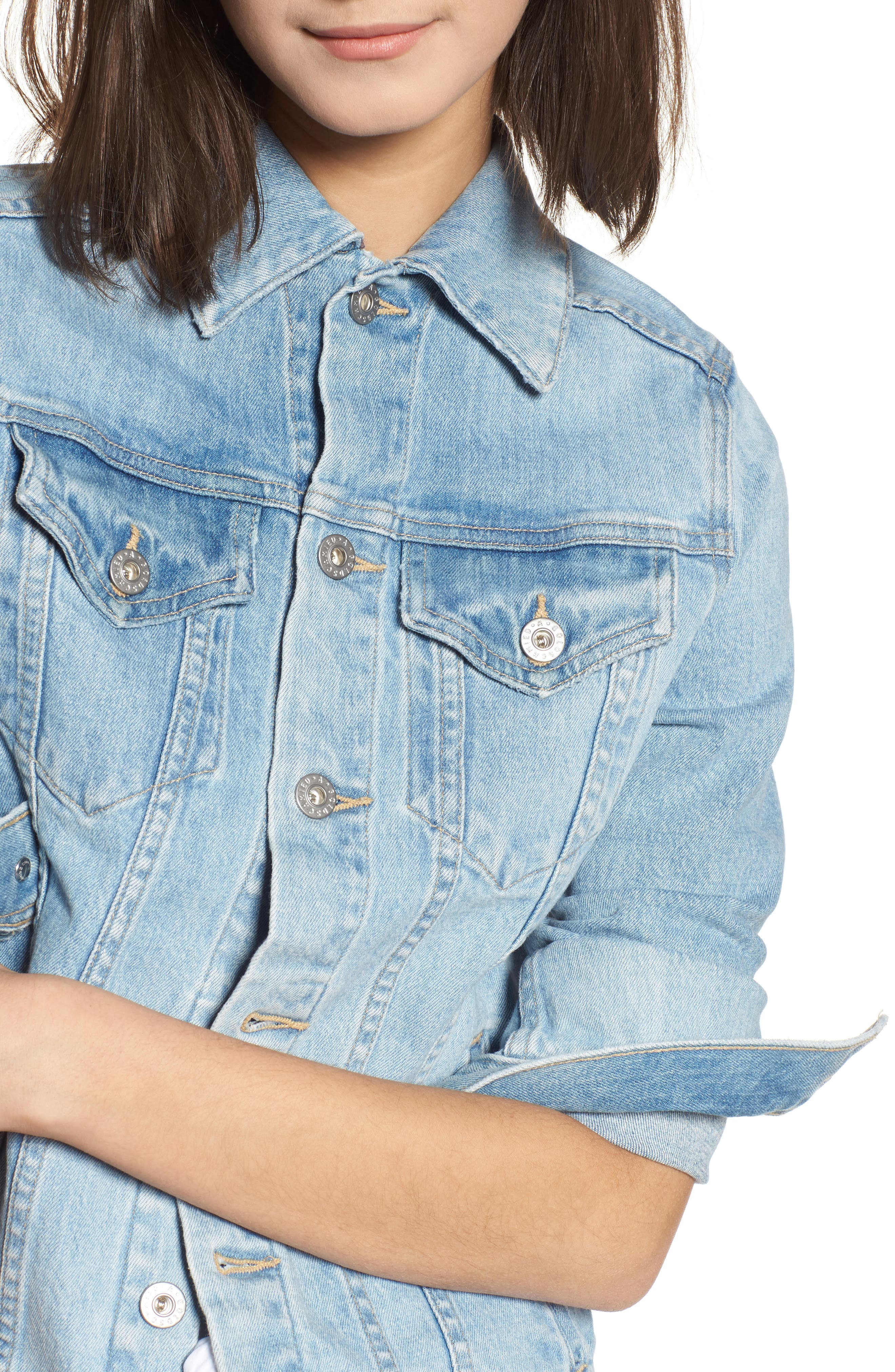 Mya Denim Jacket,                             Alternate thumbnail 4, color,                             SUNLIGHT BLUE