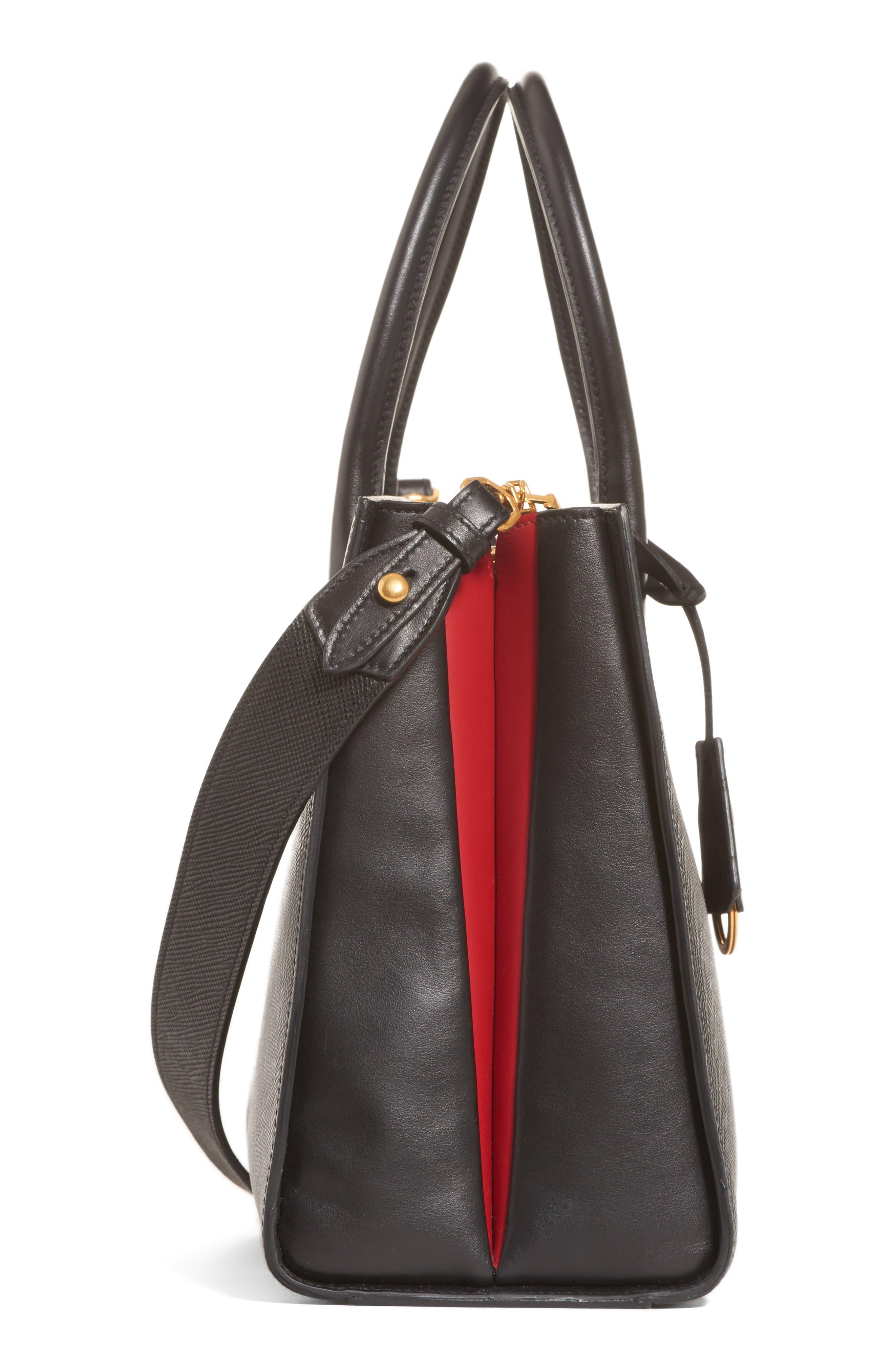 Medium Saffiano Leather Tote,                             Alternate thumbnail 4, color,                             001