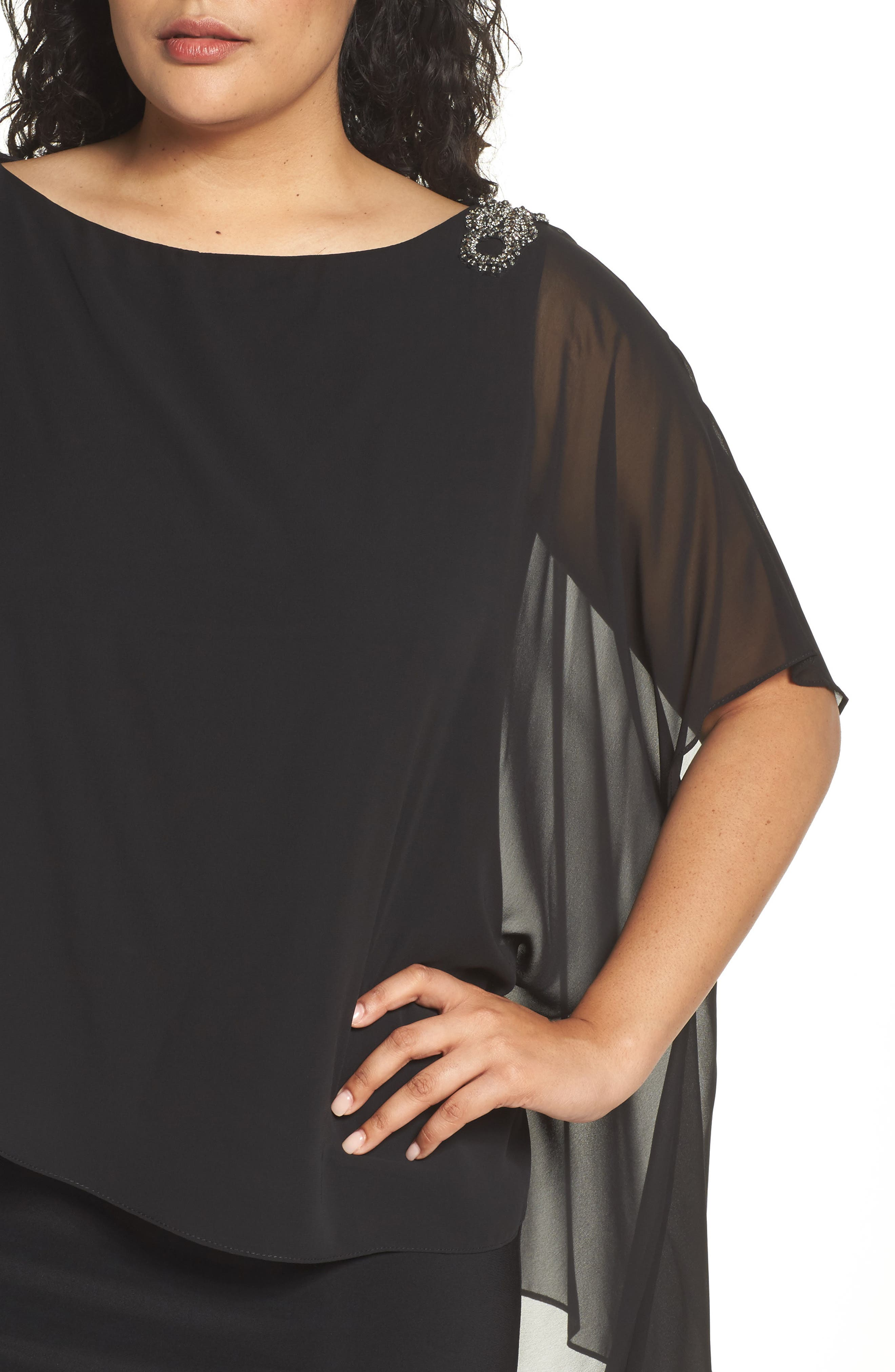 Embellished Chiffon Overlay Jersey Dress,                             Alternate thumbnail 9, color,