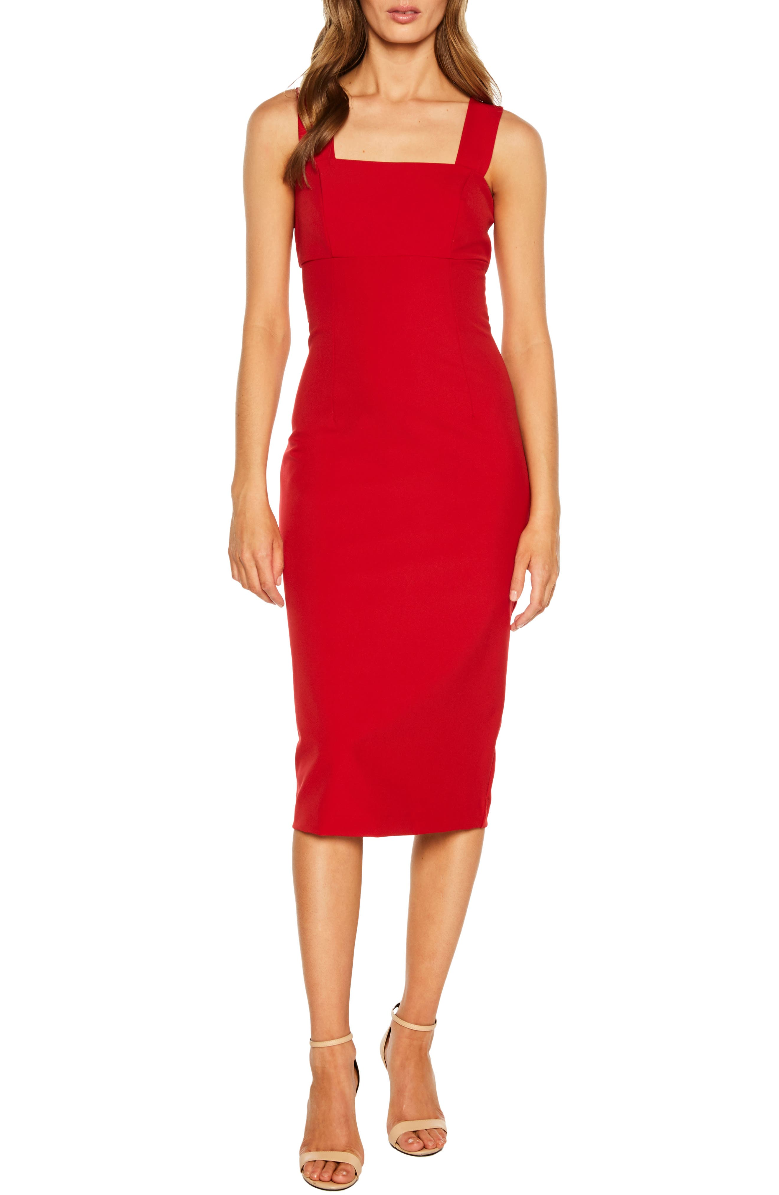 Bardot Clio Square Neck Midi Sheath