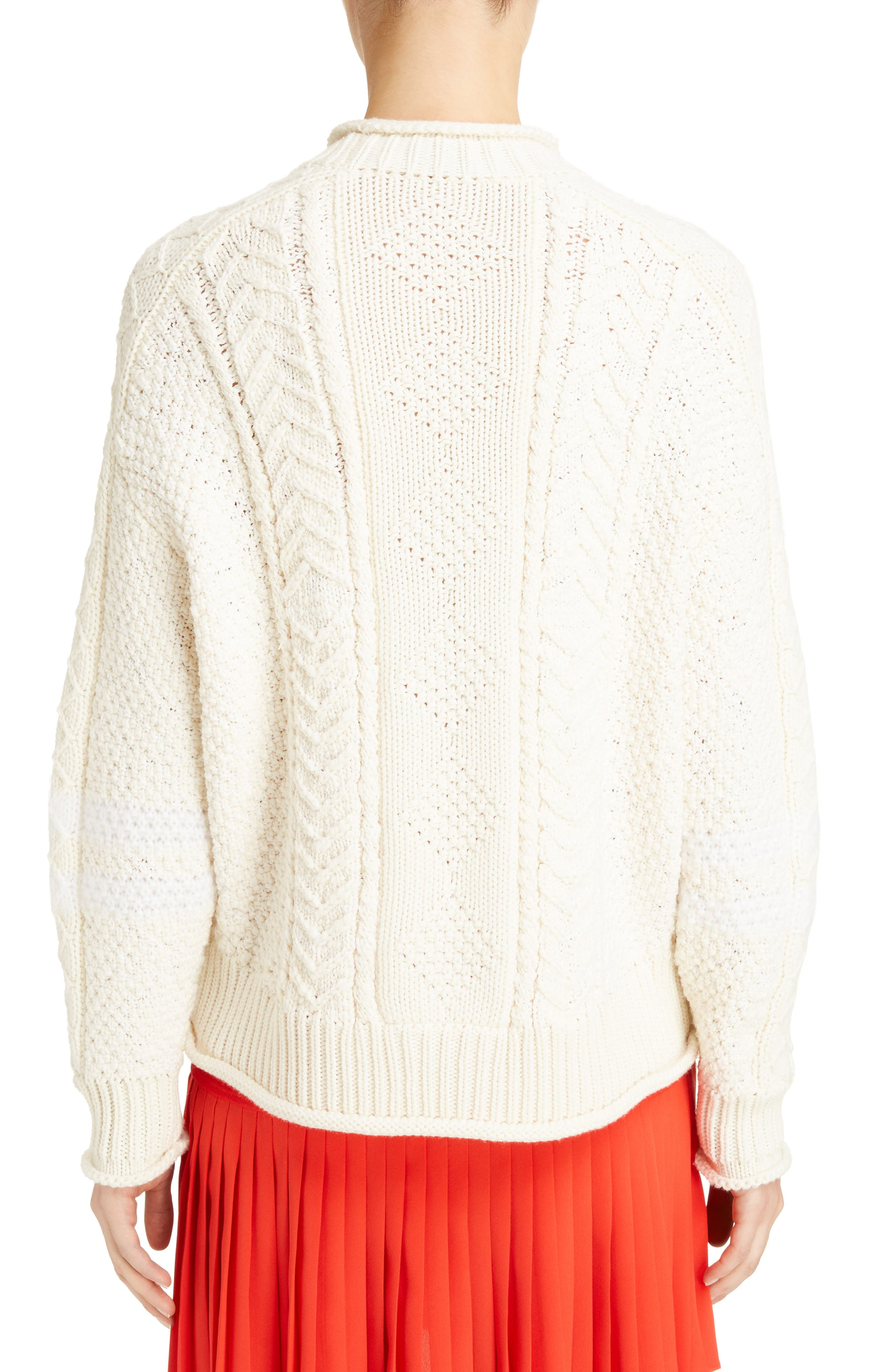 Cable Knit Wool & Cashmere Sweater,                             Alternate thumbnail 2, color,                             WHITE/ ECRU