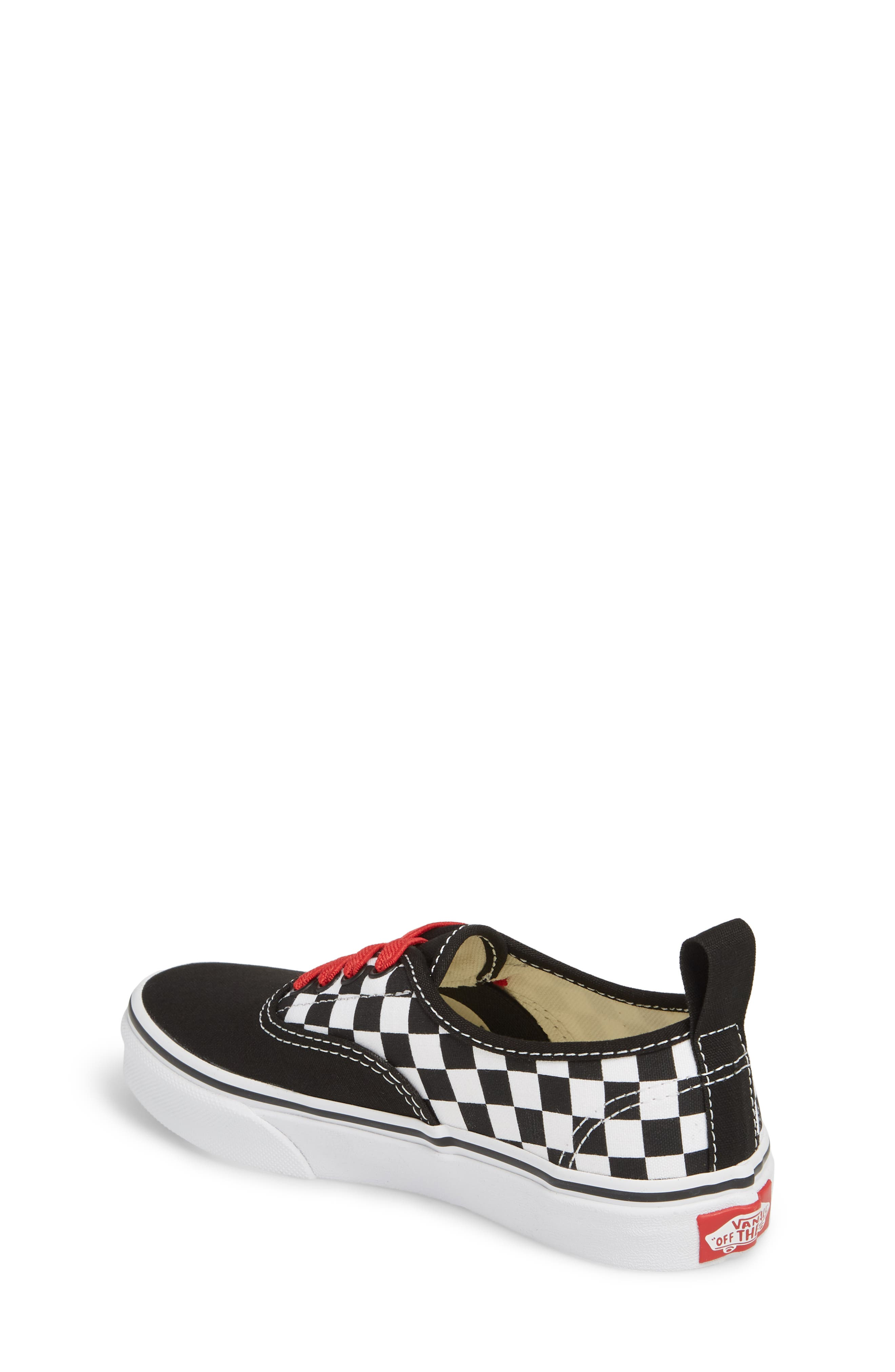 Authentic Elastic Lace Sneaker,                             Alternate thumbnail 2, color,                             CHECKERBOARD BLACK/ RED/ WHITE