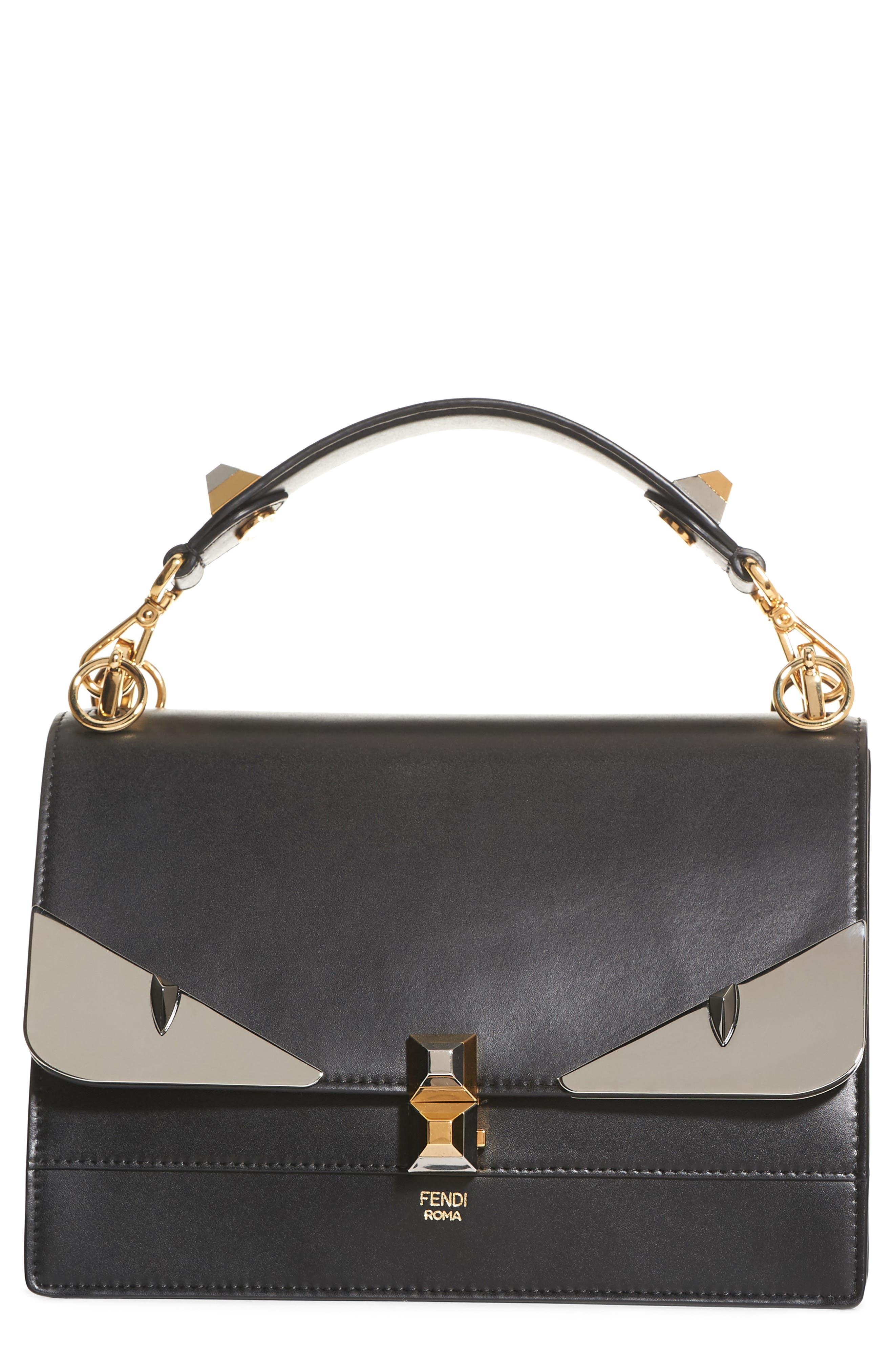 Kan I Monster Calfskin Leather Shoulder Bag,                         Main,                         color, BLACK PALLADIUM