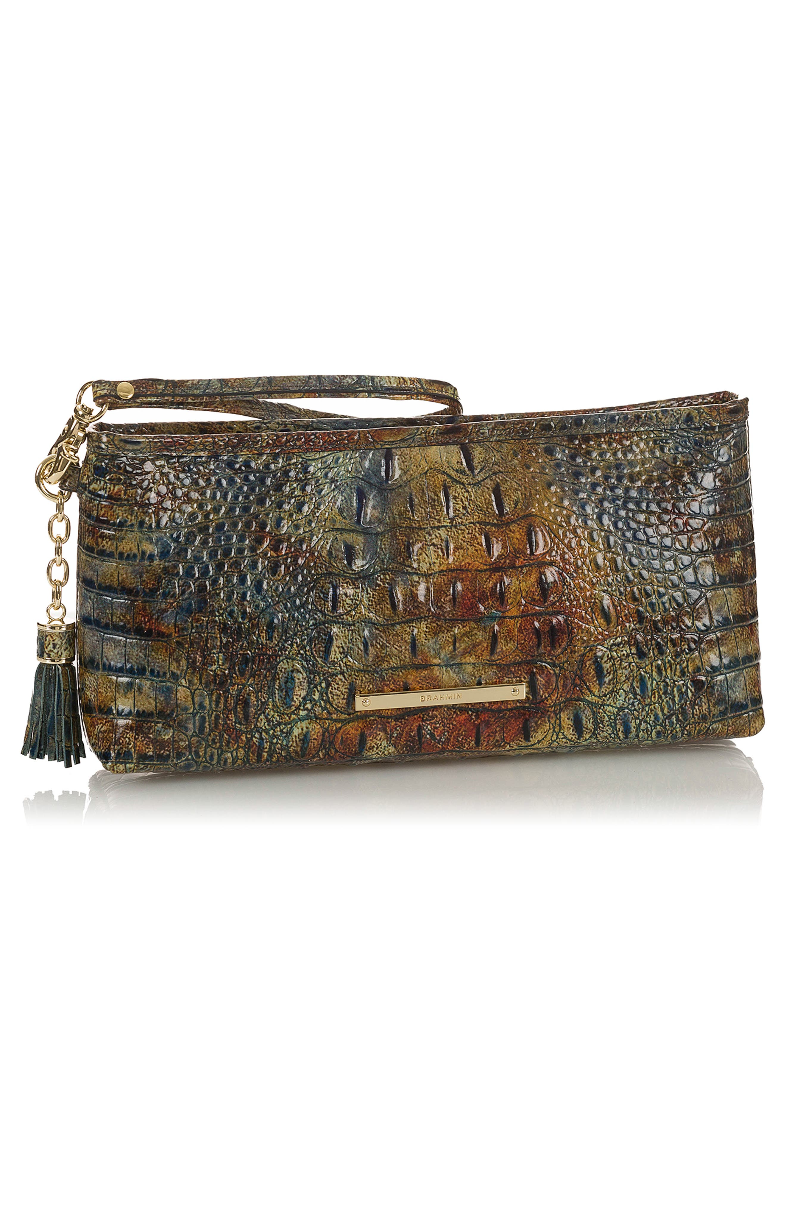 Kayla Embossed Leather Clutch,                             Alternate thumbnail 4, color,                             CEDAR