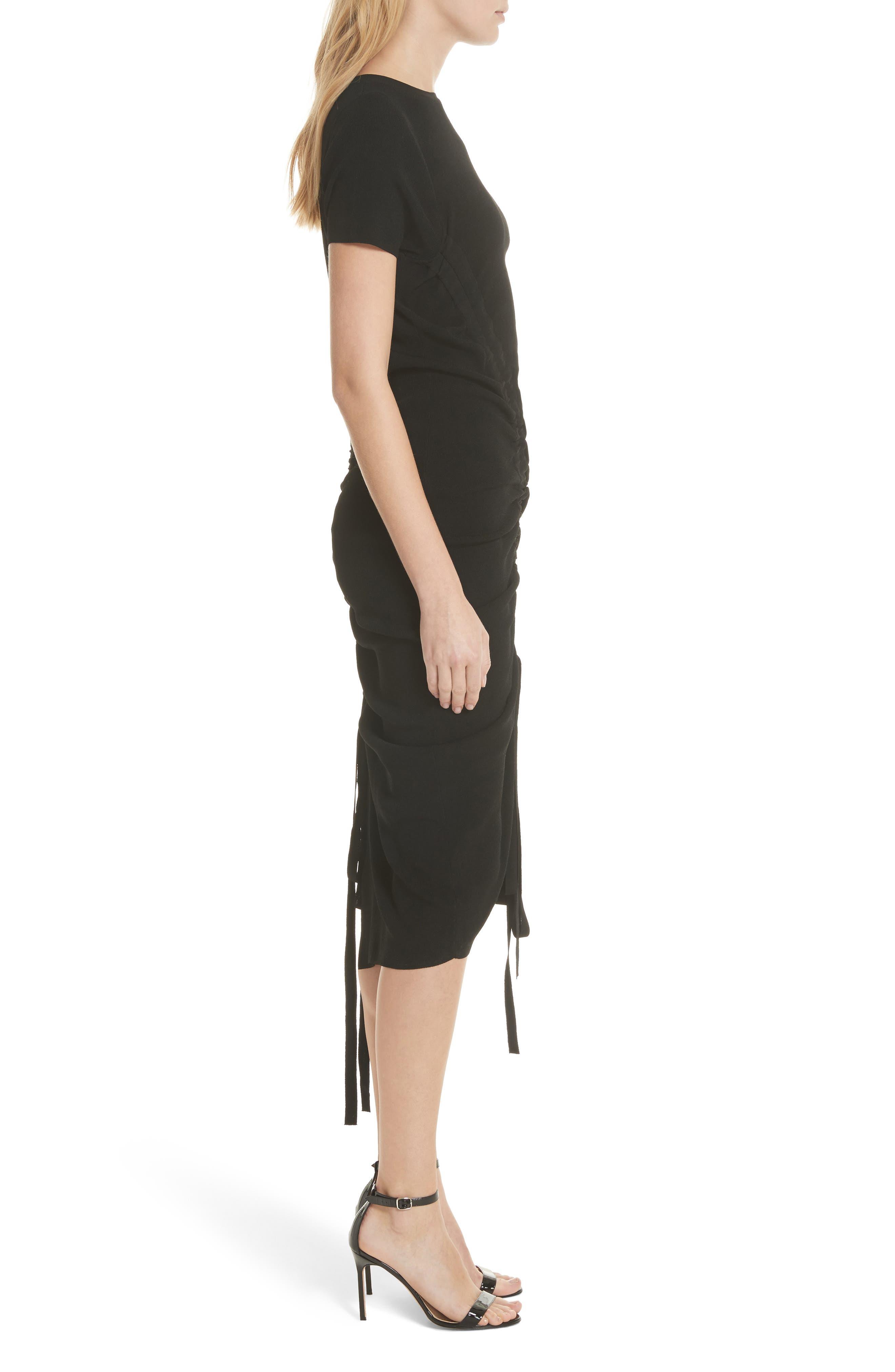 Ruched Midi Dress,                             Alternate thumbnail 3, color,                             001