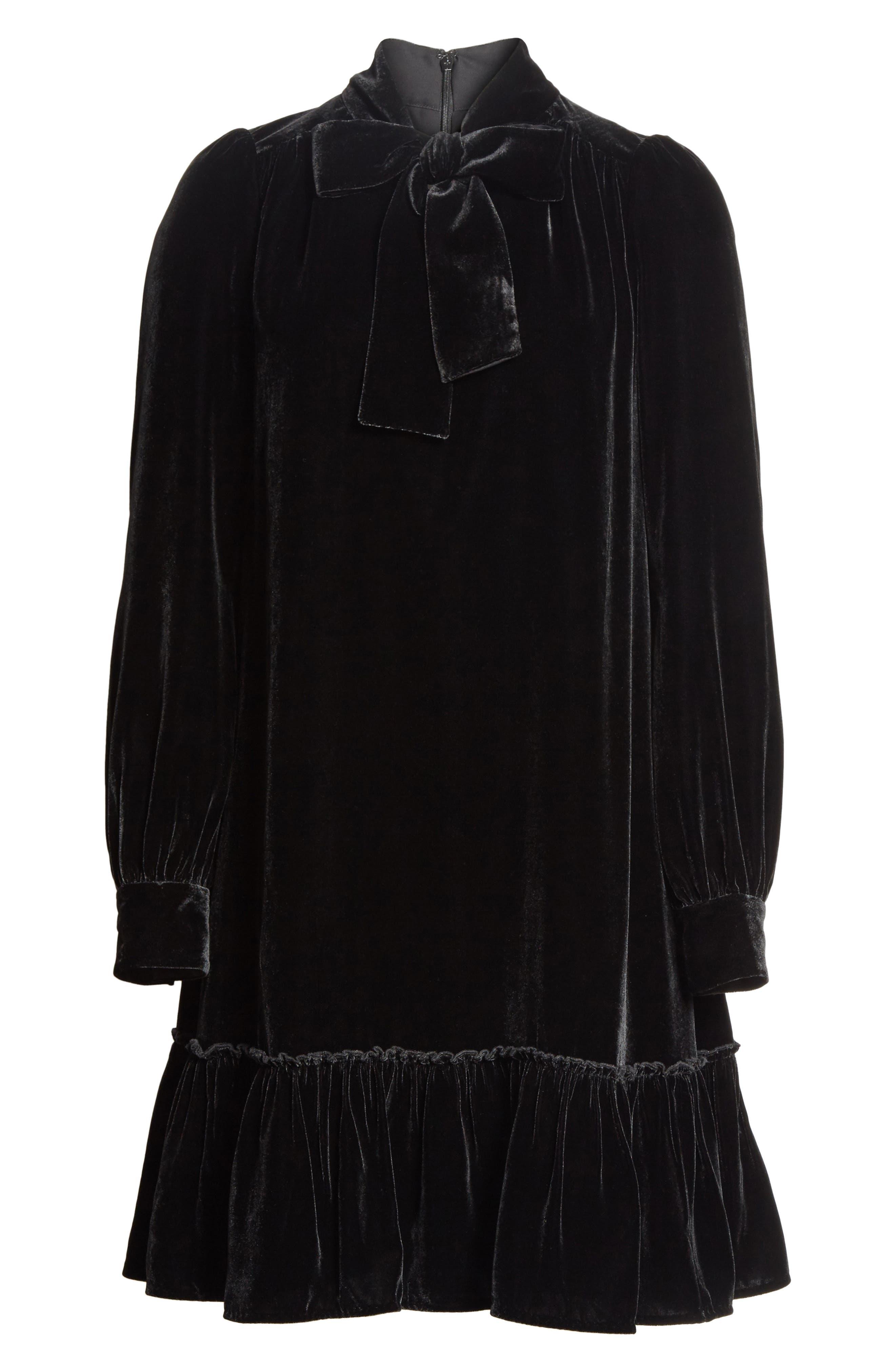 tie front velvet shift dress,                             Alternate thumbnail 6, color,                             001