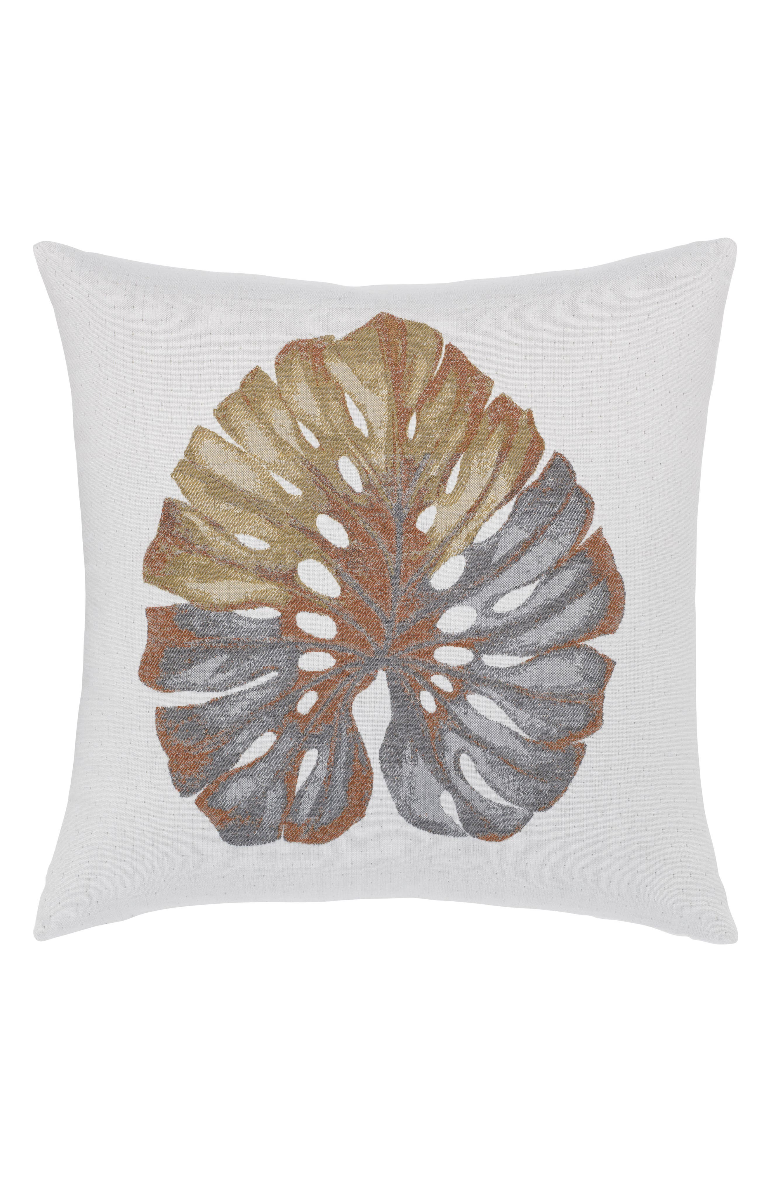 Metallic Leaf Indoor/Outdoor Accent Pillow,                         Main,                         color, GOLD/ GREY