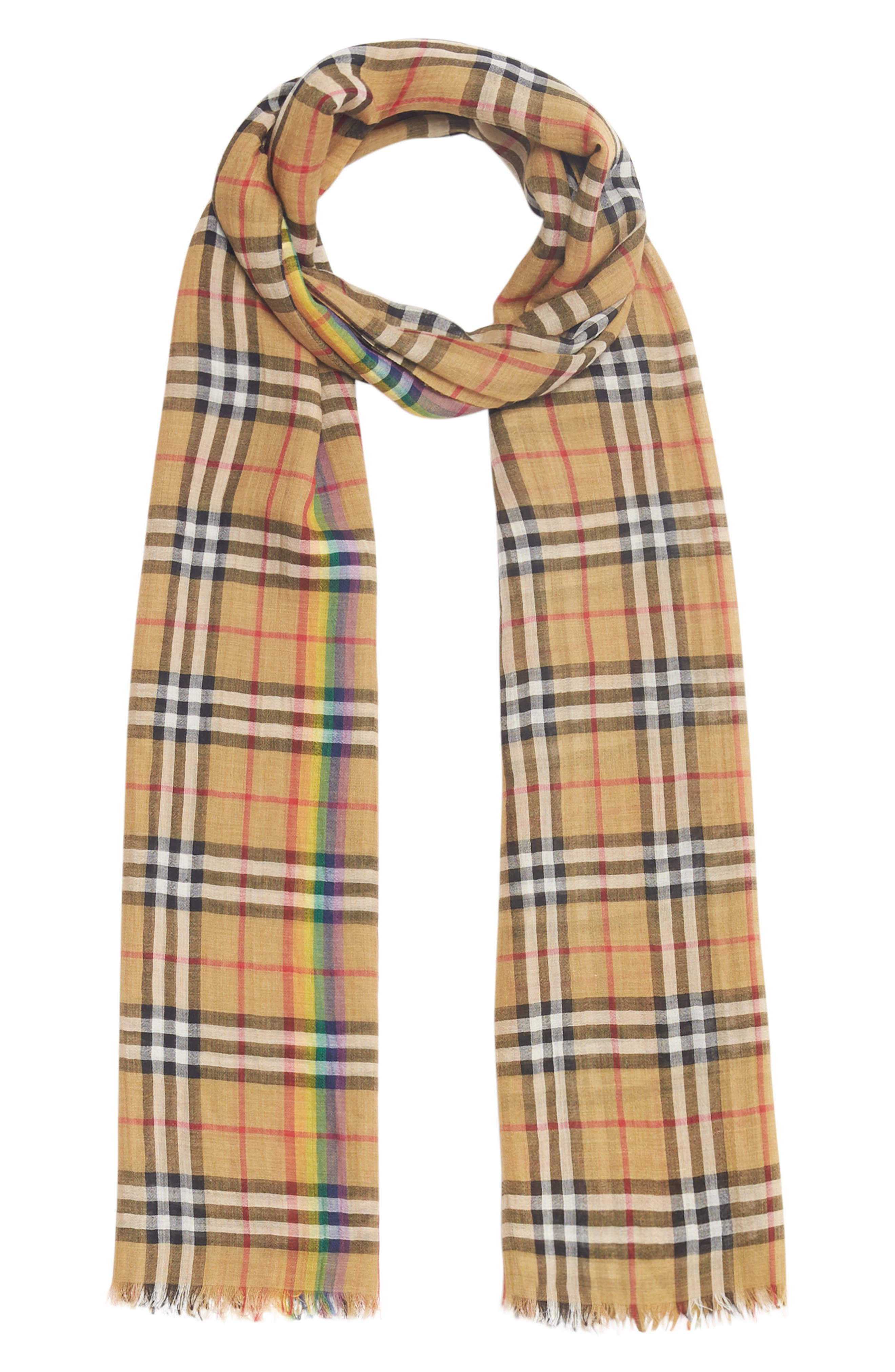 BURBERRY,                             Rainbow Stripe Vintage Check Scarf,                             Alternate thumbnail 3, color,                             ANTIQUE YELLOW/ RAINBOW