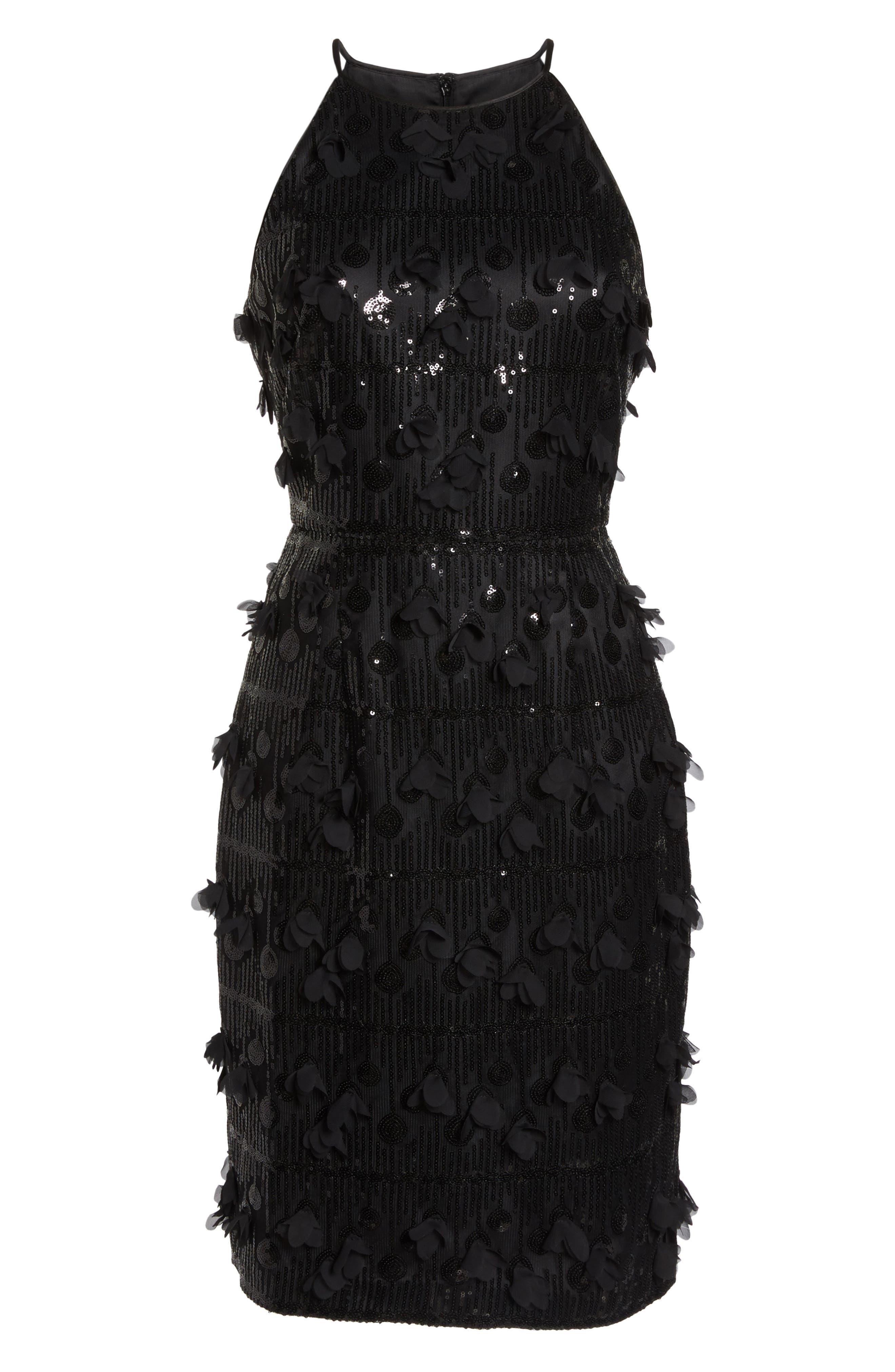 3D Floral & Sequin Cocktail Dress,                             Alternate thumbnail 7, color,                             001