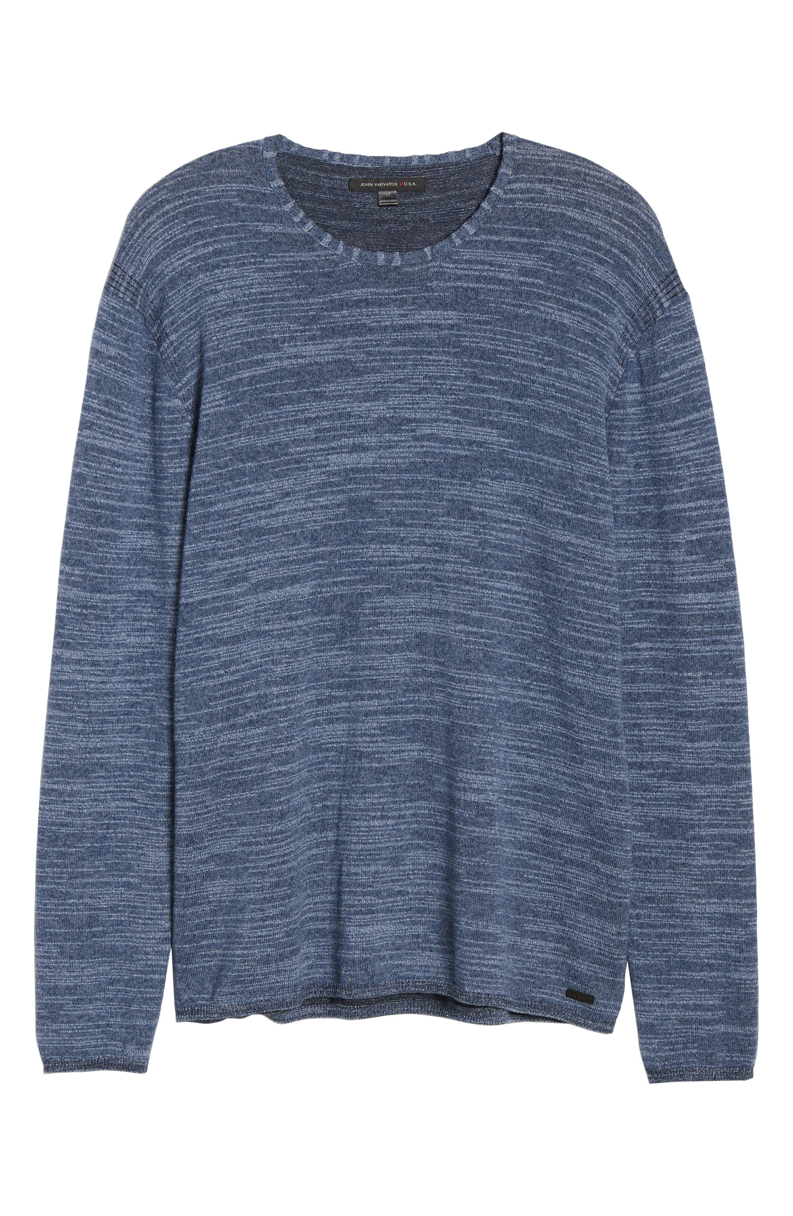 Vincent Plated Regular Fit Crewneck Sweater,                             Alternate thumbnail 6, color,                             STREAM BLUE