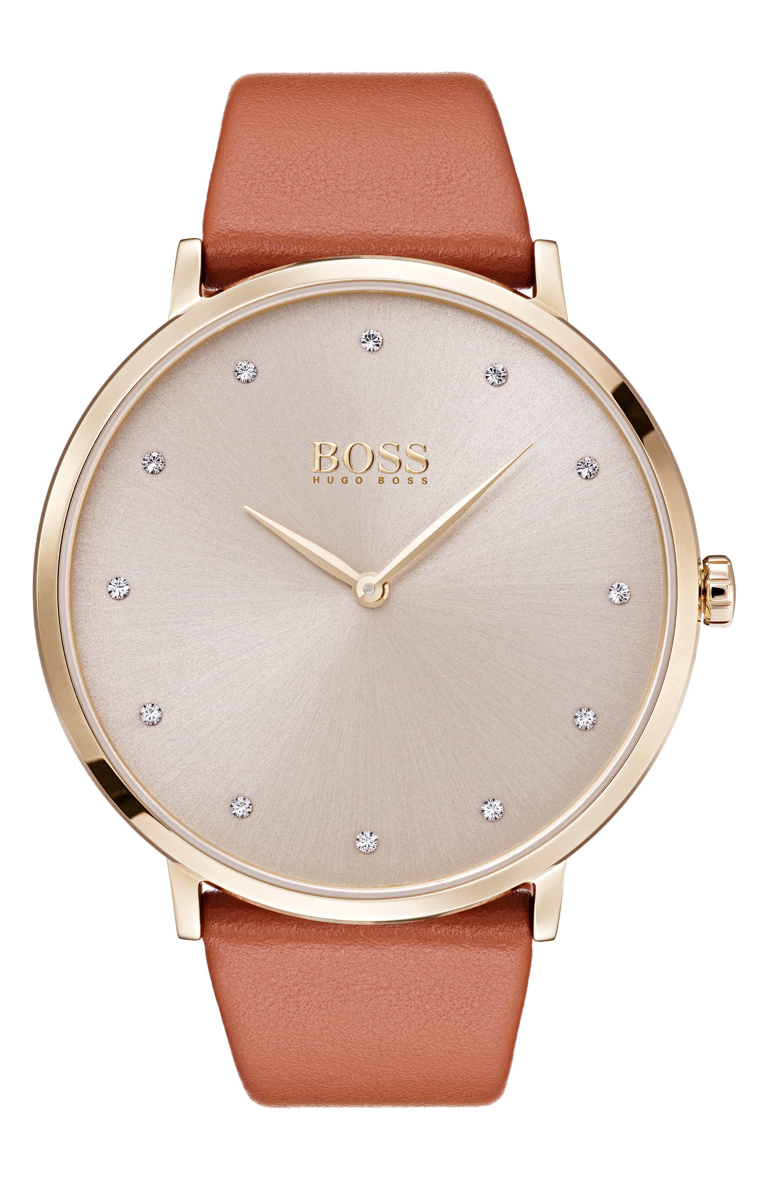 Jillian Ultra Slim Leather Strap Watch, 40mm,                         Main,                         color, BROWN/ SILVER/ GOLD