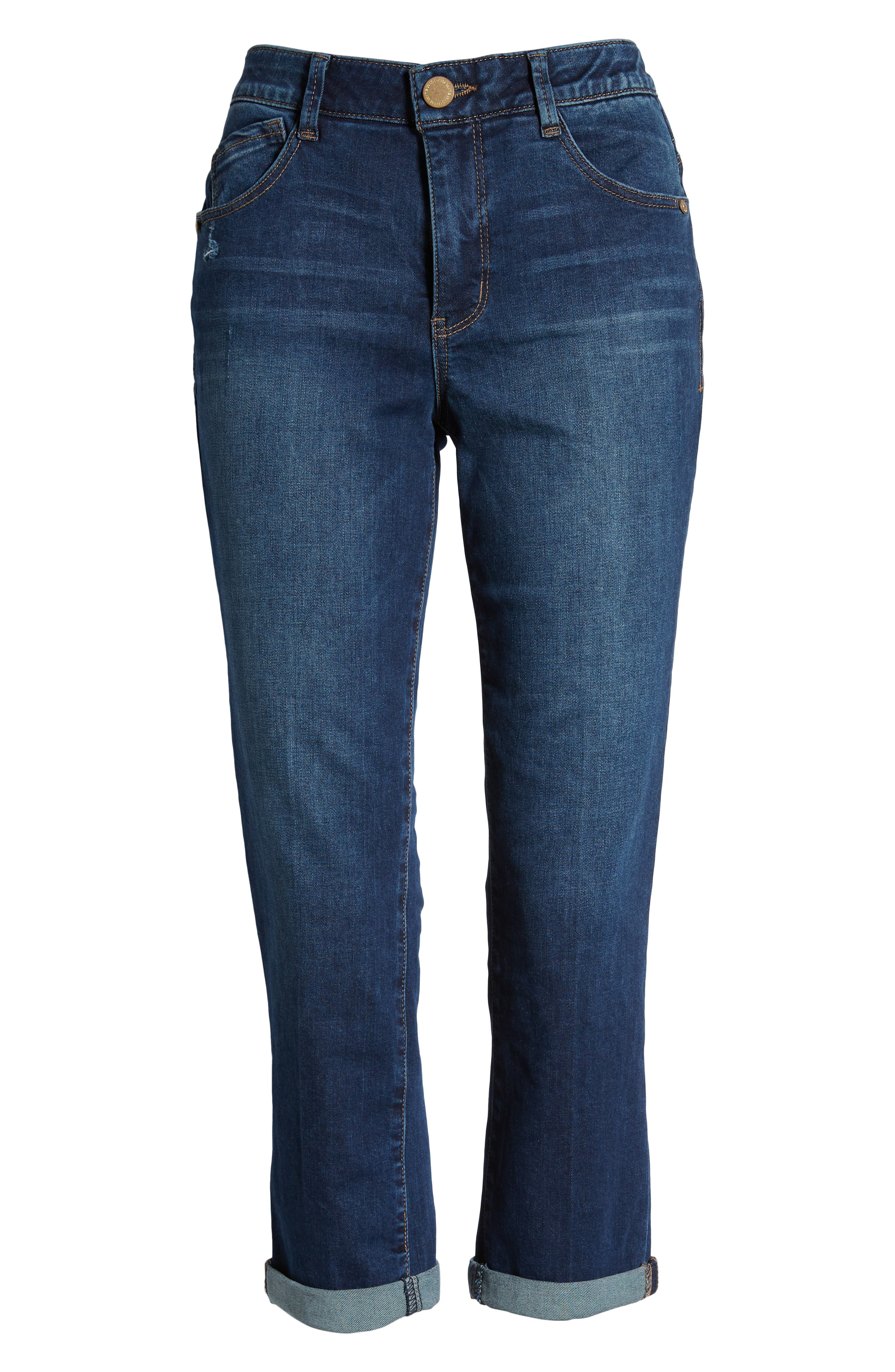 Luxe Touch High Waist Crop Skinny Jeans,                             Alternate thumbnail 7, color,                             BLUE