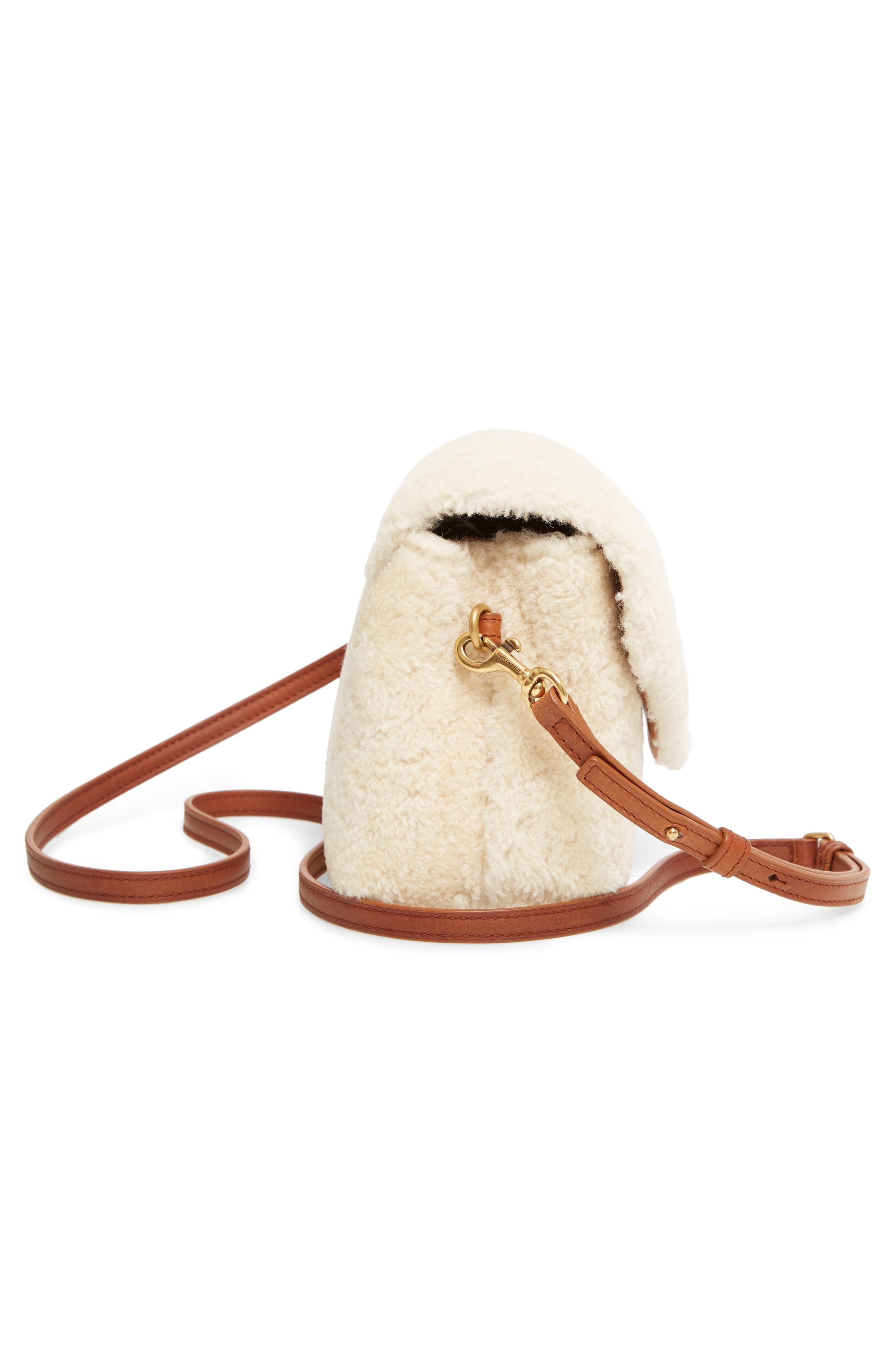Small Loulou Genuine Shearling Crossbody Bag,                             Alternate thumbnail 5, color,                             NATURALE/ DEEP CUOIO