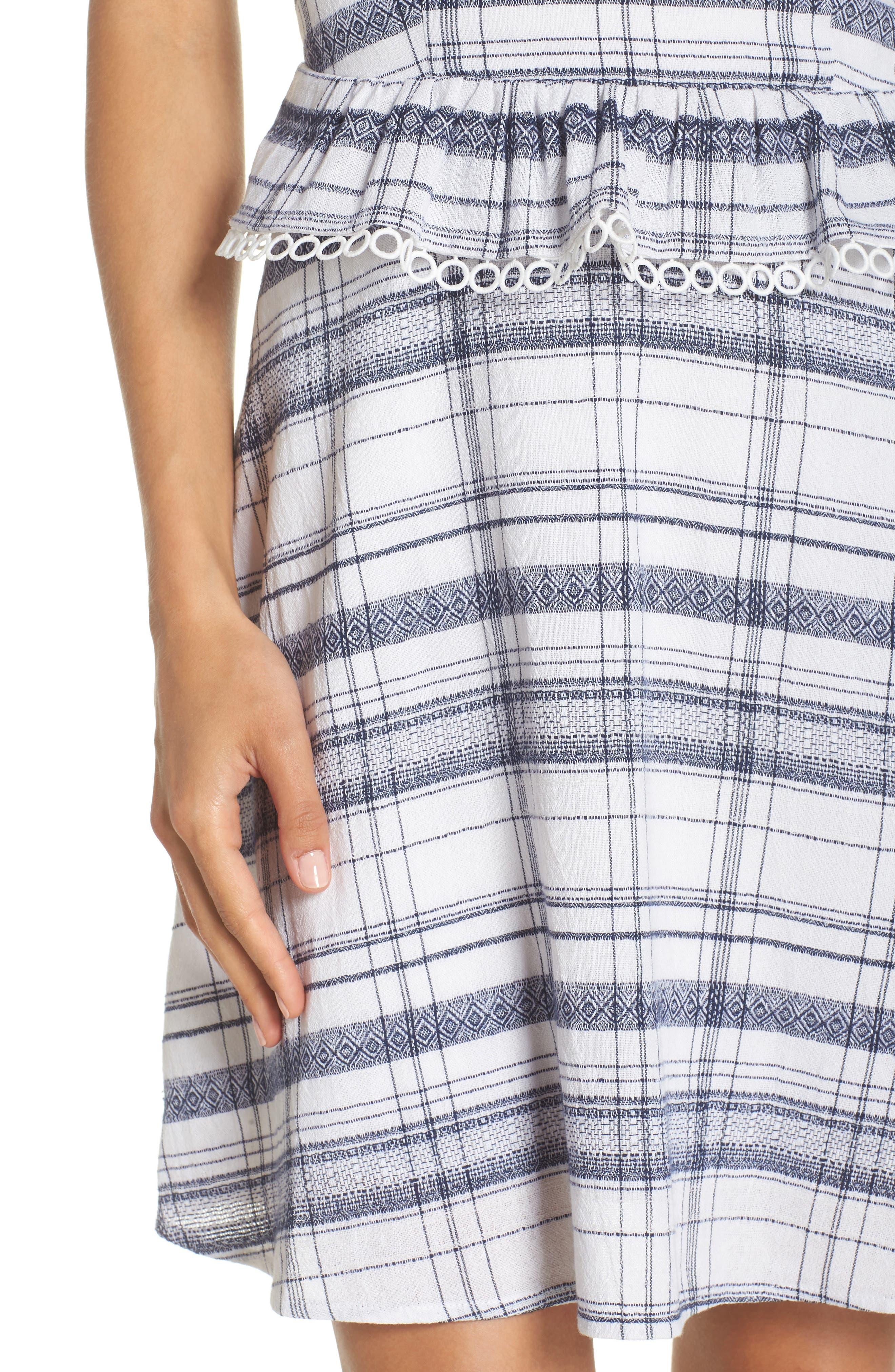 Aubrey Plaid Fit & Flare Dress,                             Alternate thumbnail 4, color,