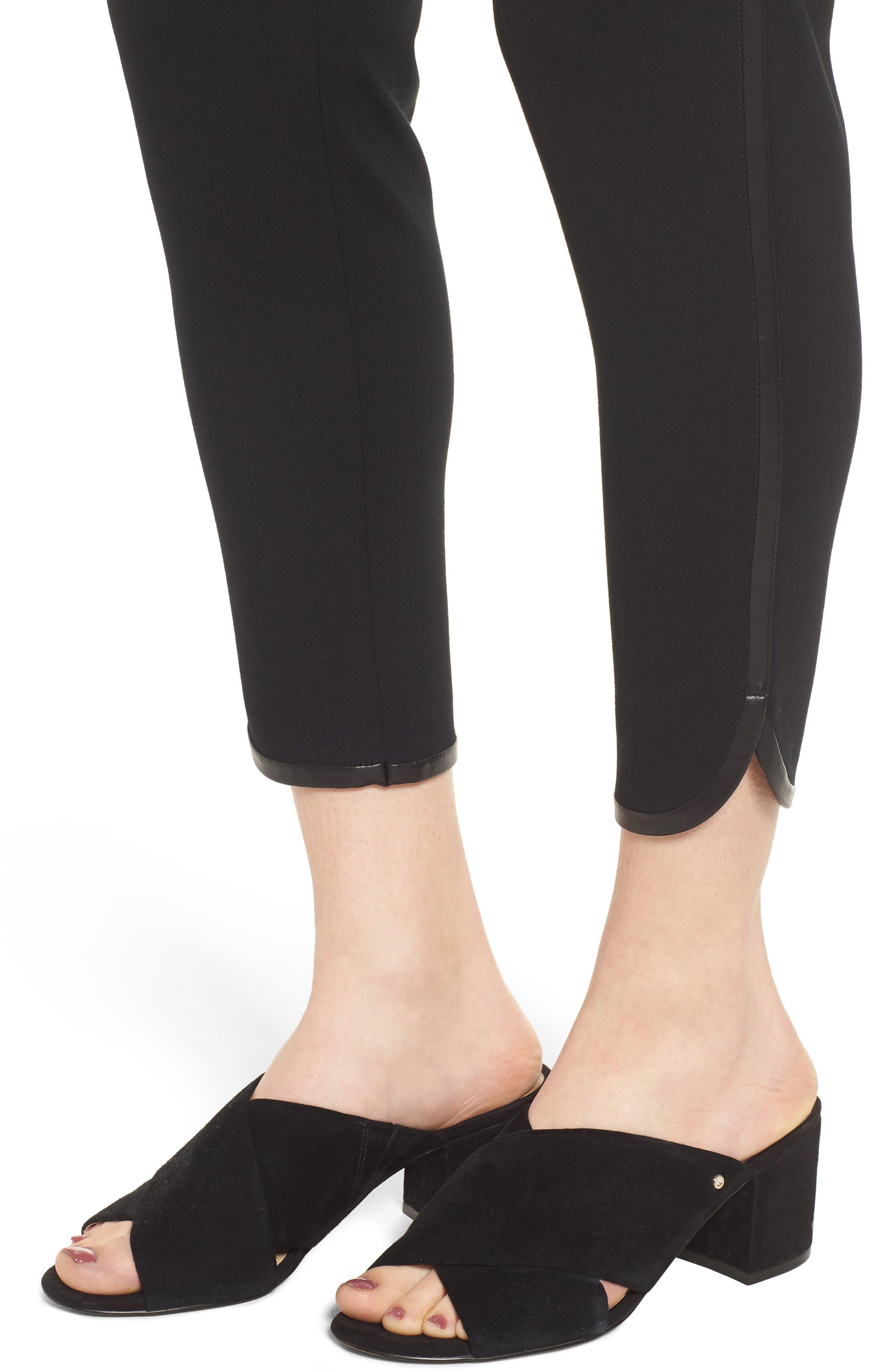 Ponte Knit Crop Pants,                             Alternate thumbnail 4, color,                             BLACK