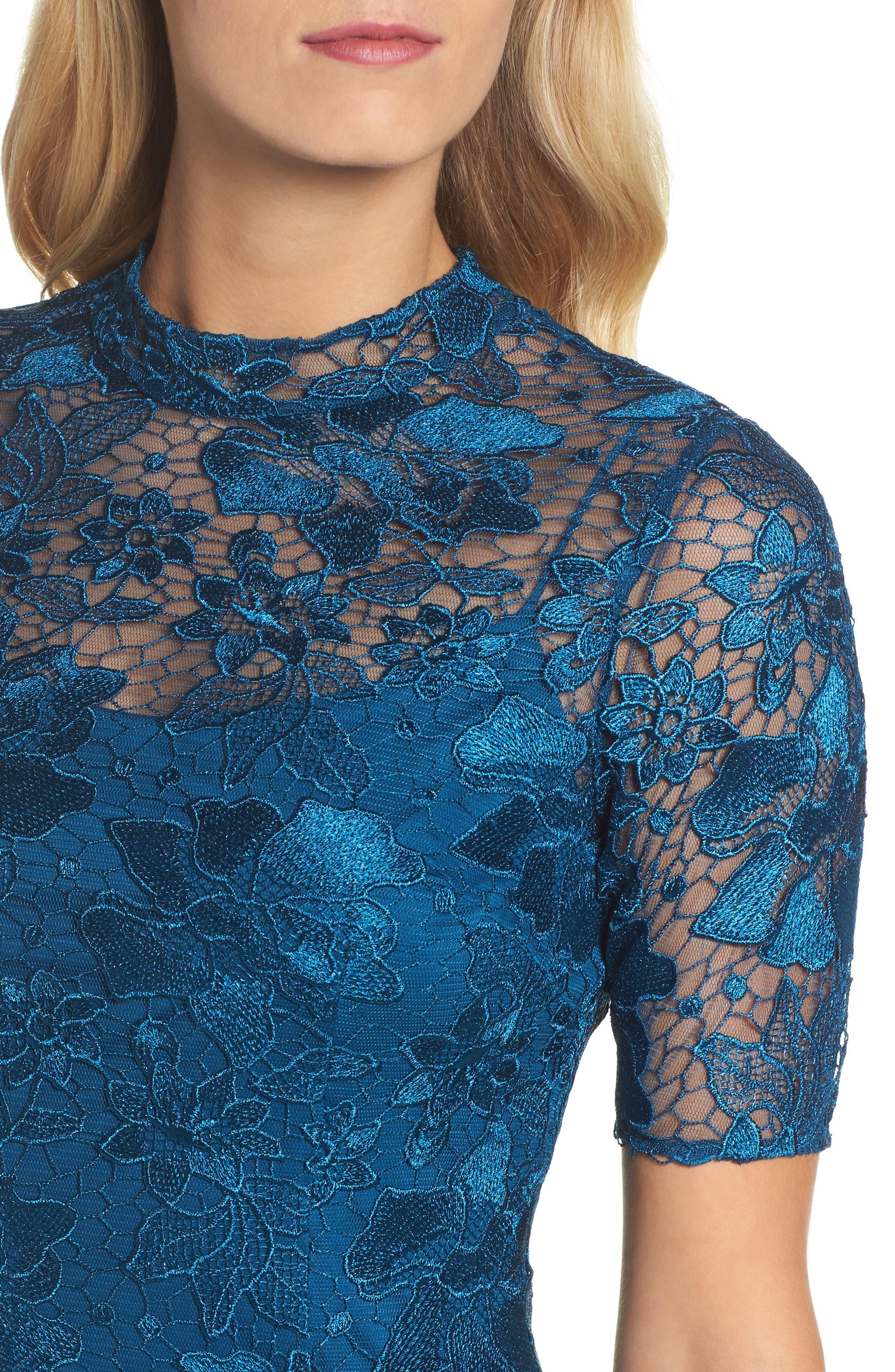 Guipure Lace Column Gown,                             Alternate thumbnail 4, color,                             471