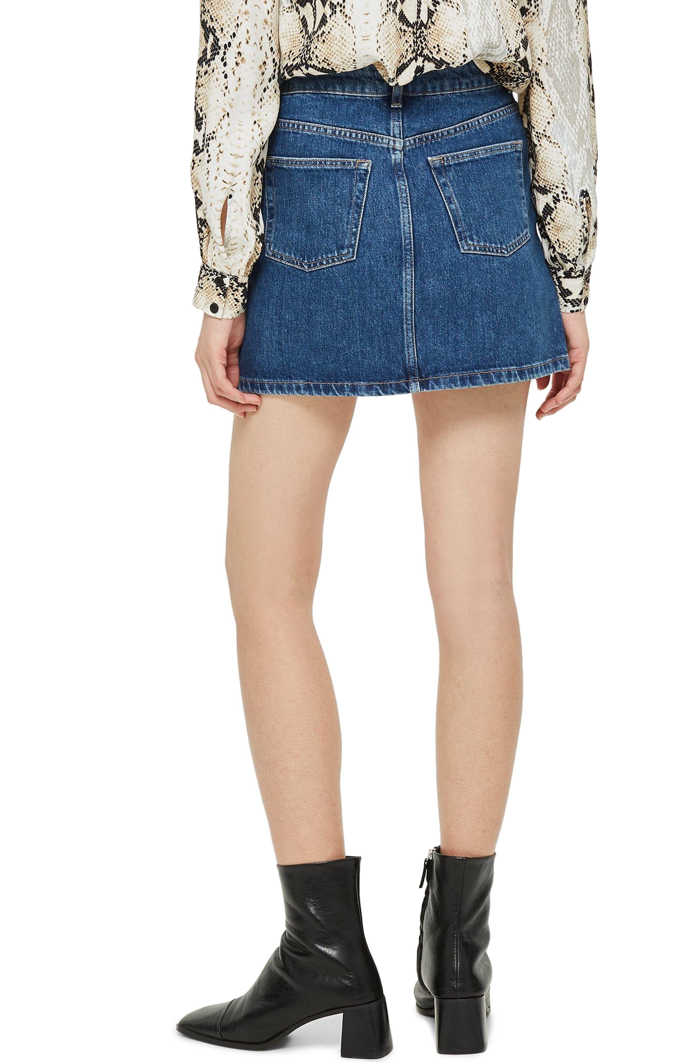 Button Fly Denim Skirt,                             Alternate thumbnail 2, color,                             MID DENIM
