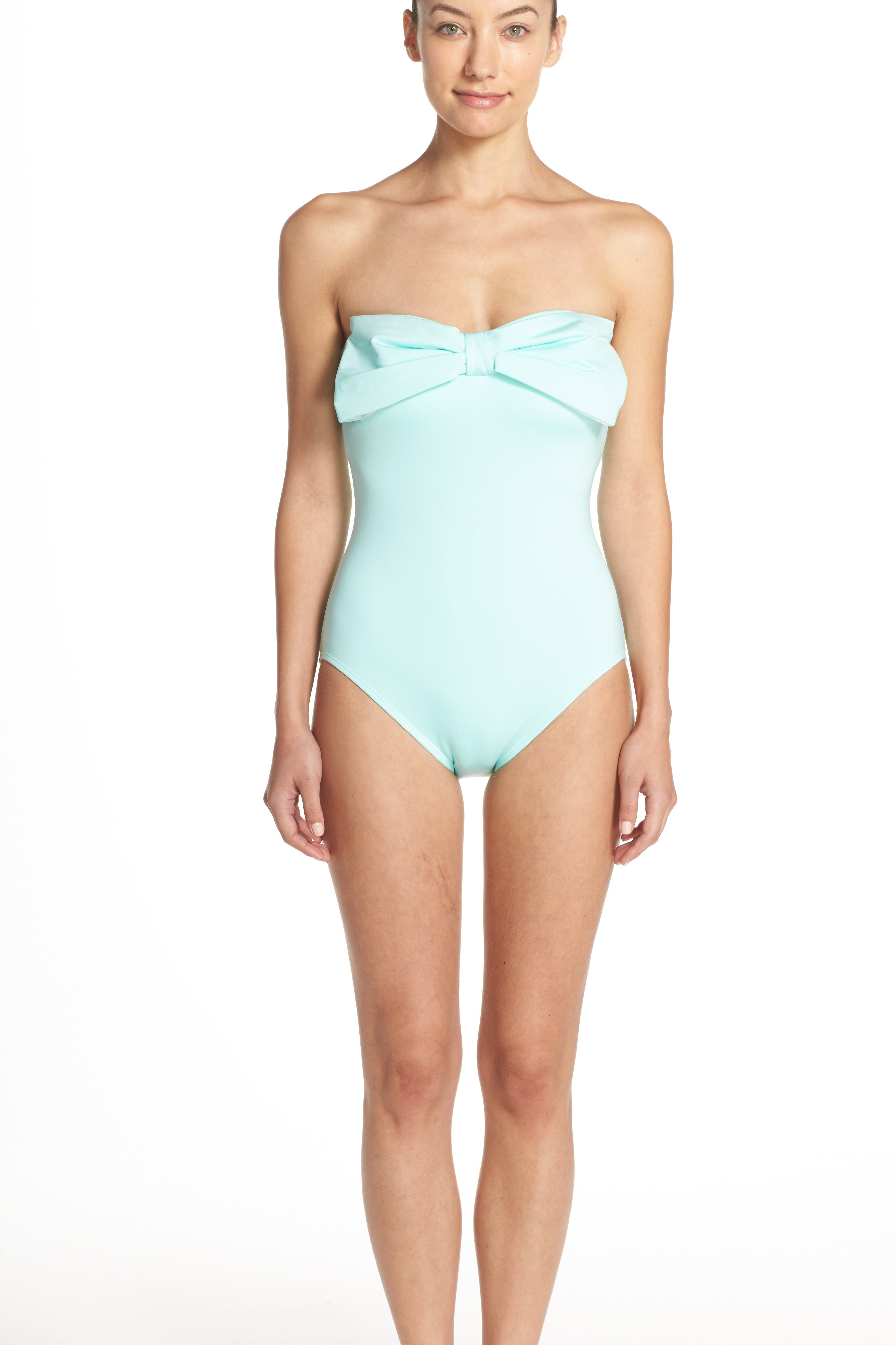bow neck one-piece swimsuit,                             Alternate thumbnail 4, color,