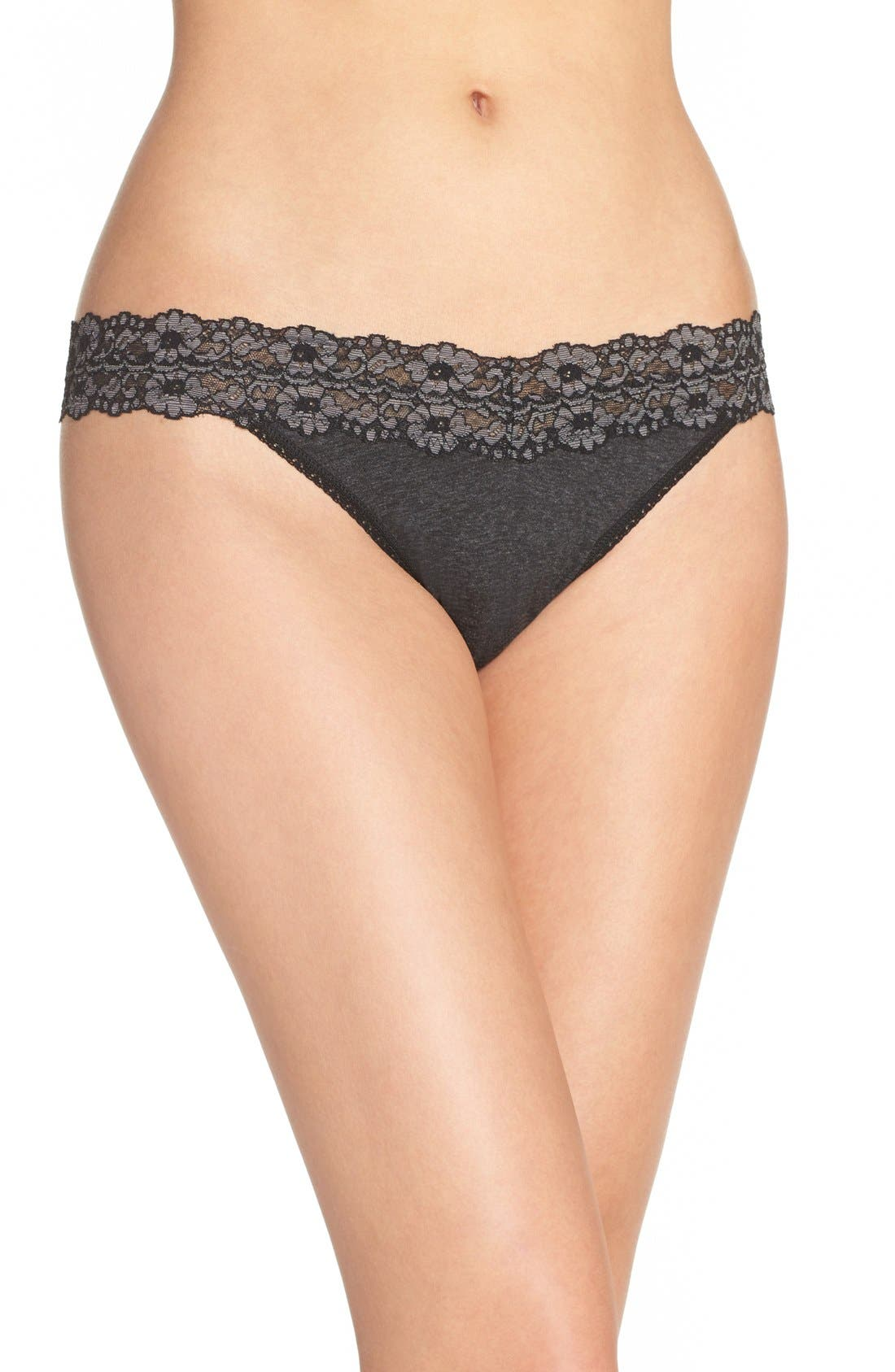 'Heather' Jersey Original Rise Thong,                             Main thumbnail 1, color,                             BLACK HEATHER