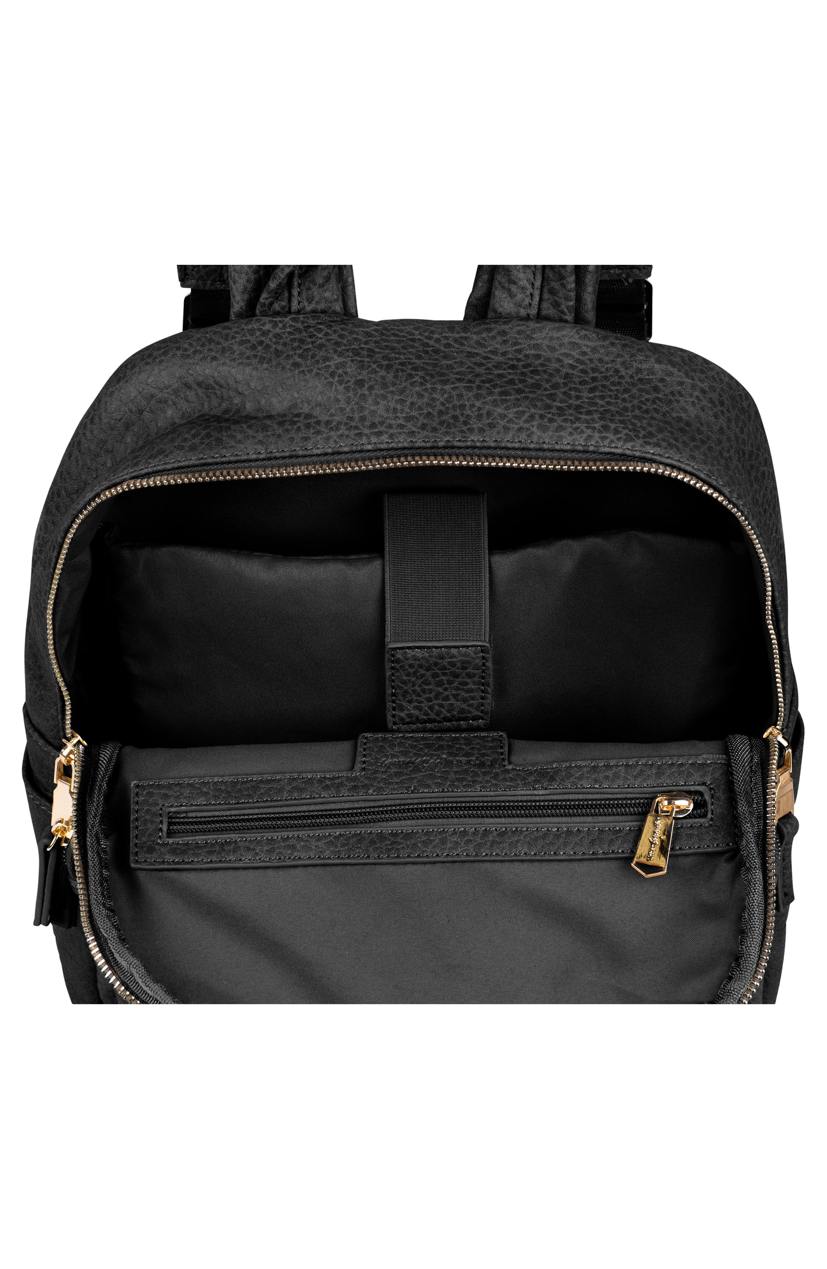 URBAN ORIGINALS,                             Bold Move Vegan Leather Laptop Backpack,                             Alternate thumbnail 3, color,                             BLACK