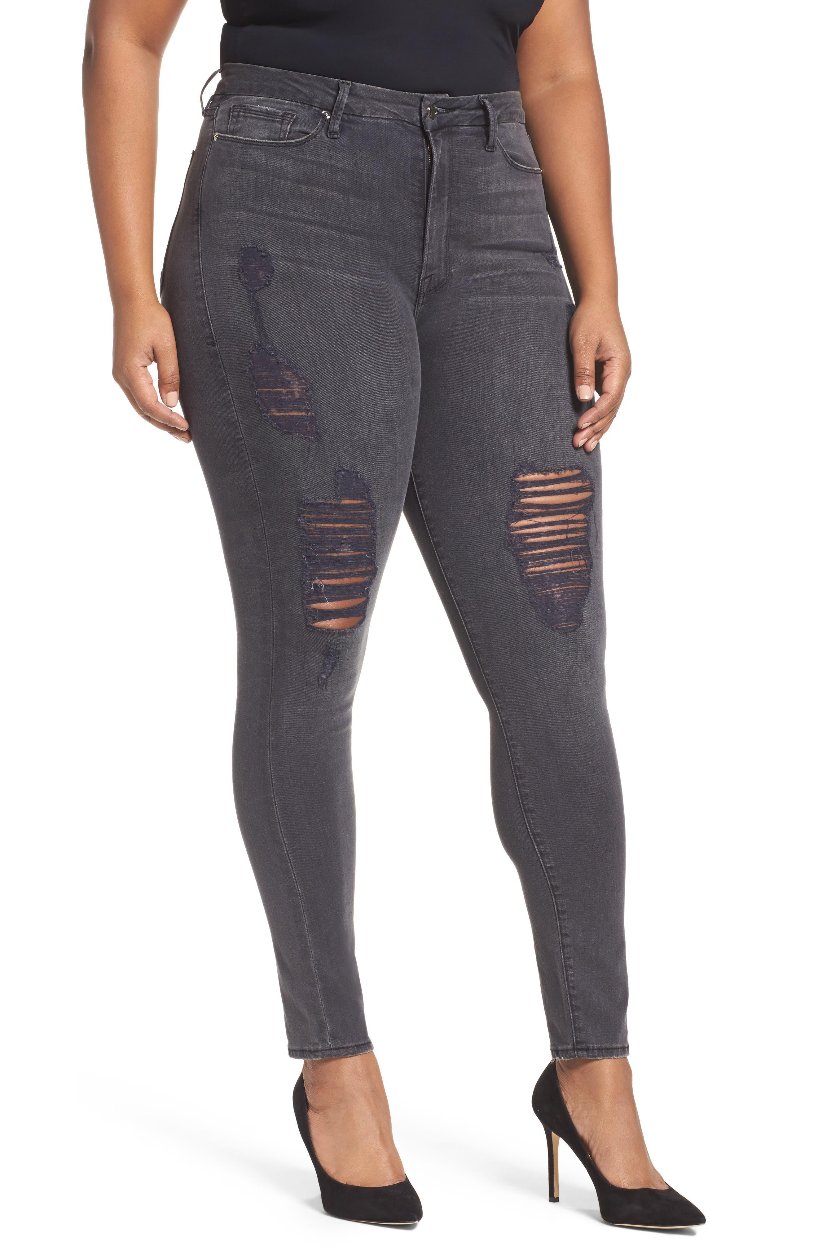 Good Waist High Waist Ripped Skinny Jeans,                         Main,                         color, 001