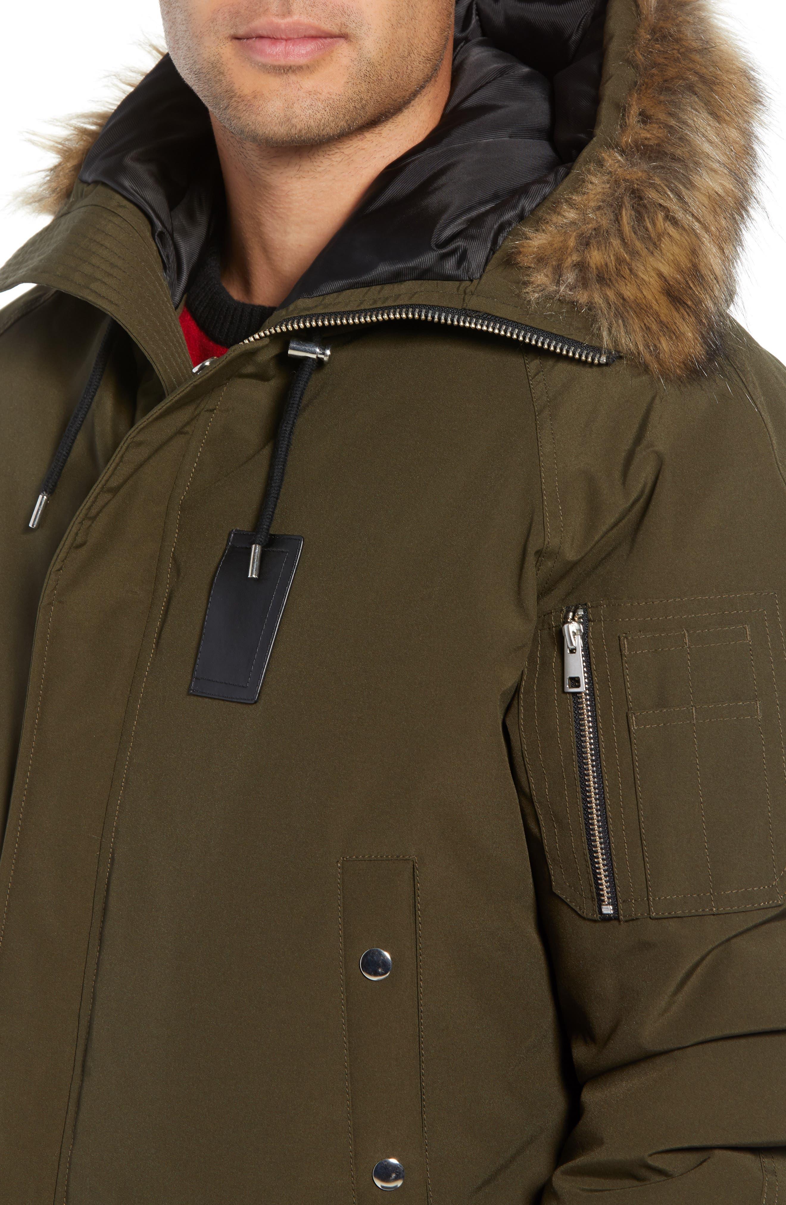 Down Hooded Jacket with Faux Fur Trim,                             Alternate thumbnail 4, color,                             KHAKI