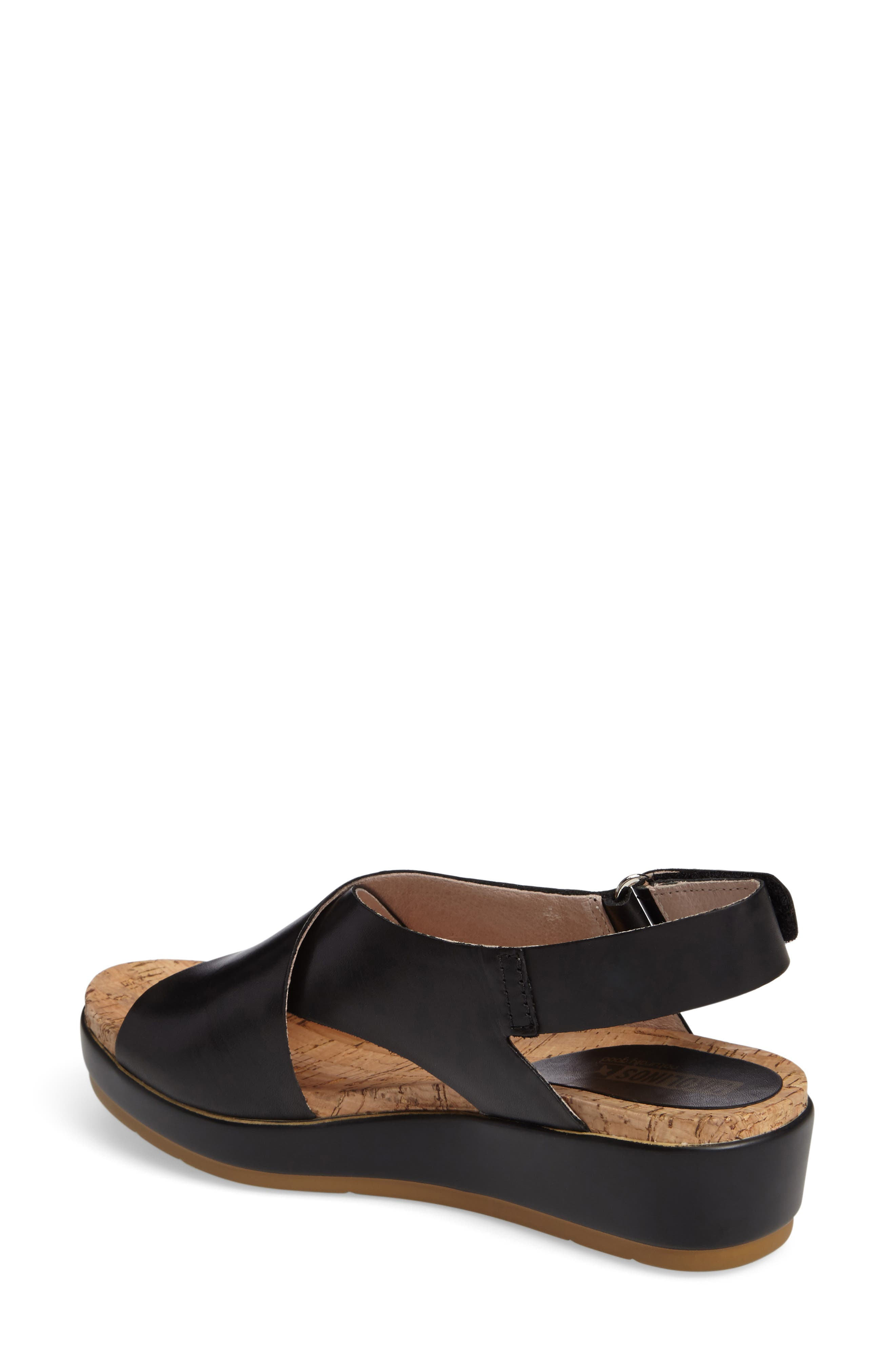 'Mykonos' Platform Sandal,                             Alternate thumbnail 2, color,                             BLACK/ BLACK LEATHER