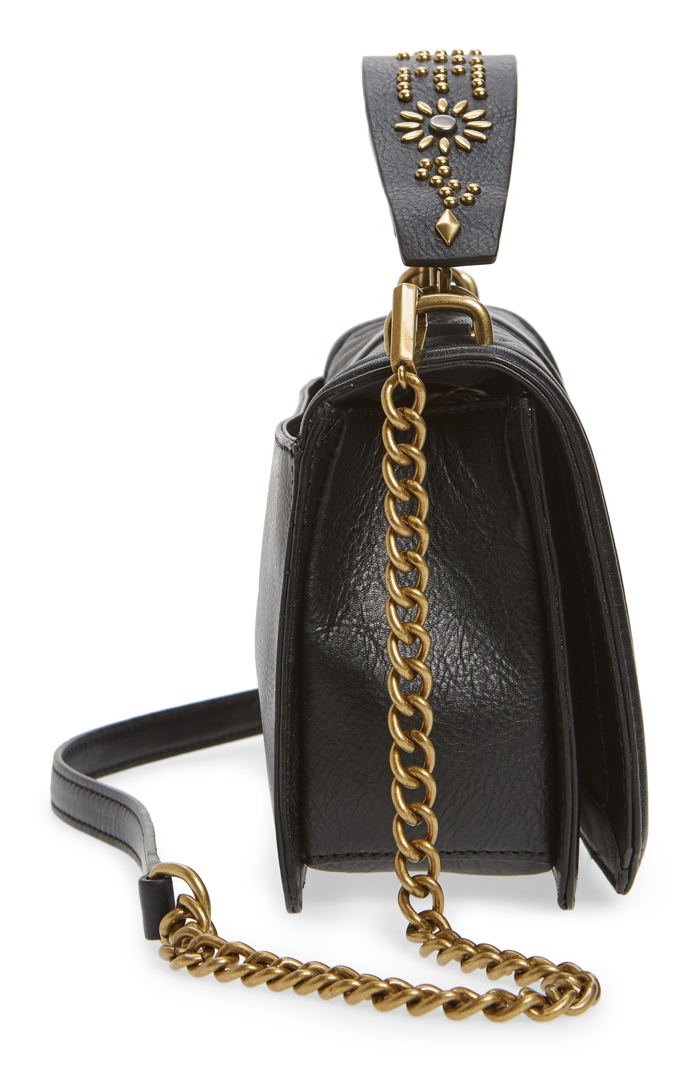 Love Studded Handle Crossbody Bag,                             Alternate thumbnail 5, color,                             001