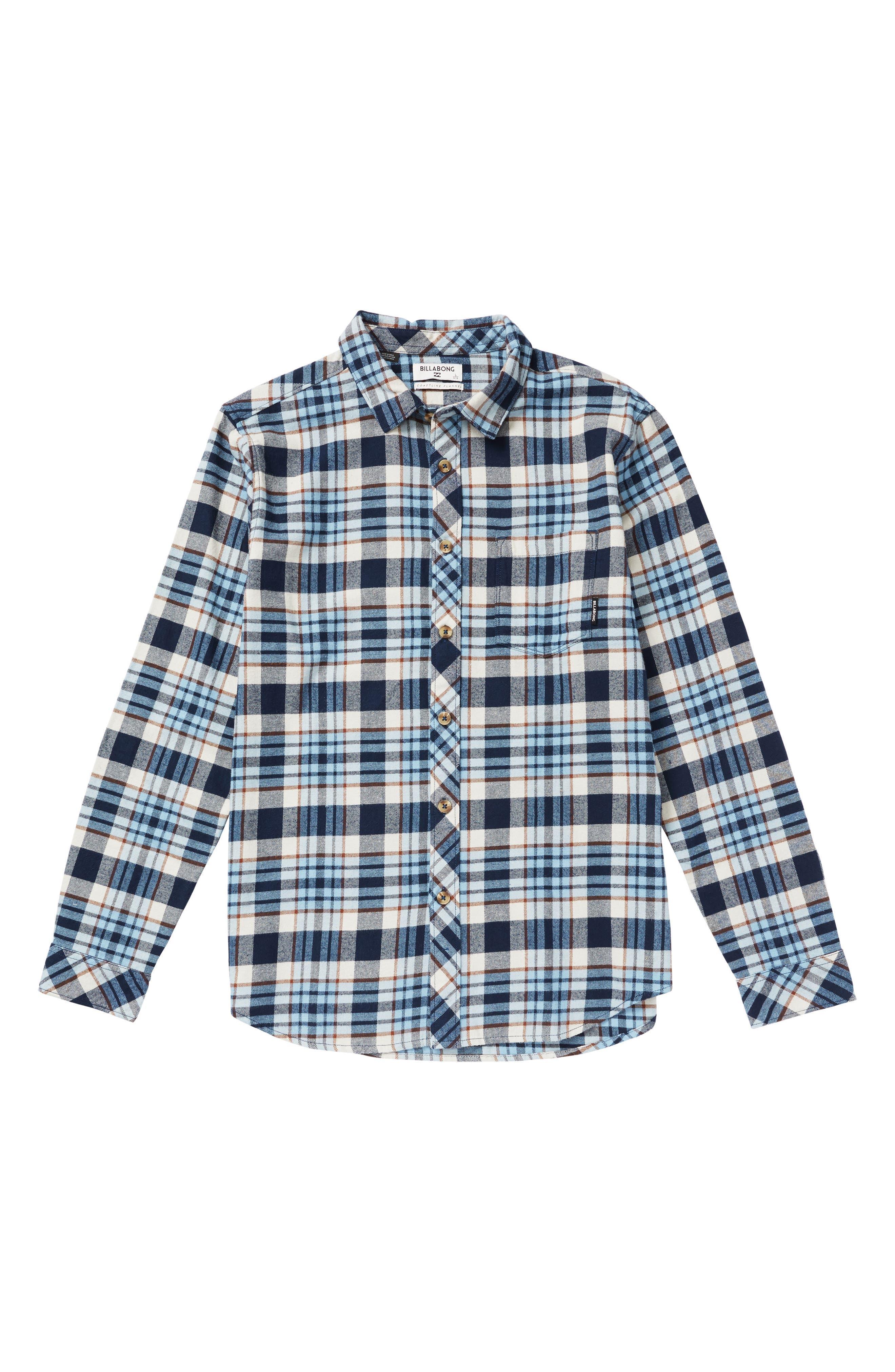 Boys Billabong Coastline Plaid Flannel Shirt Size S (4)  Blue