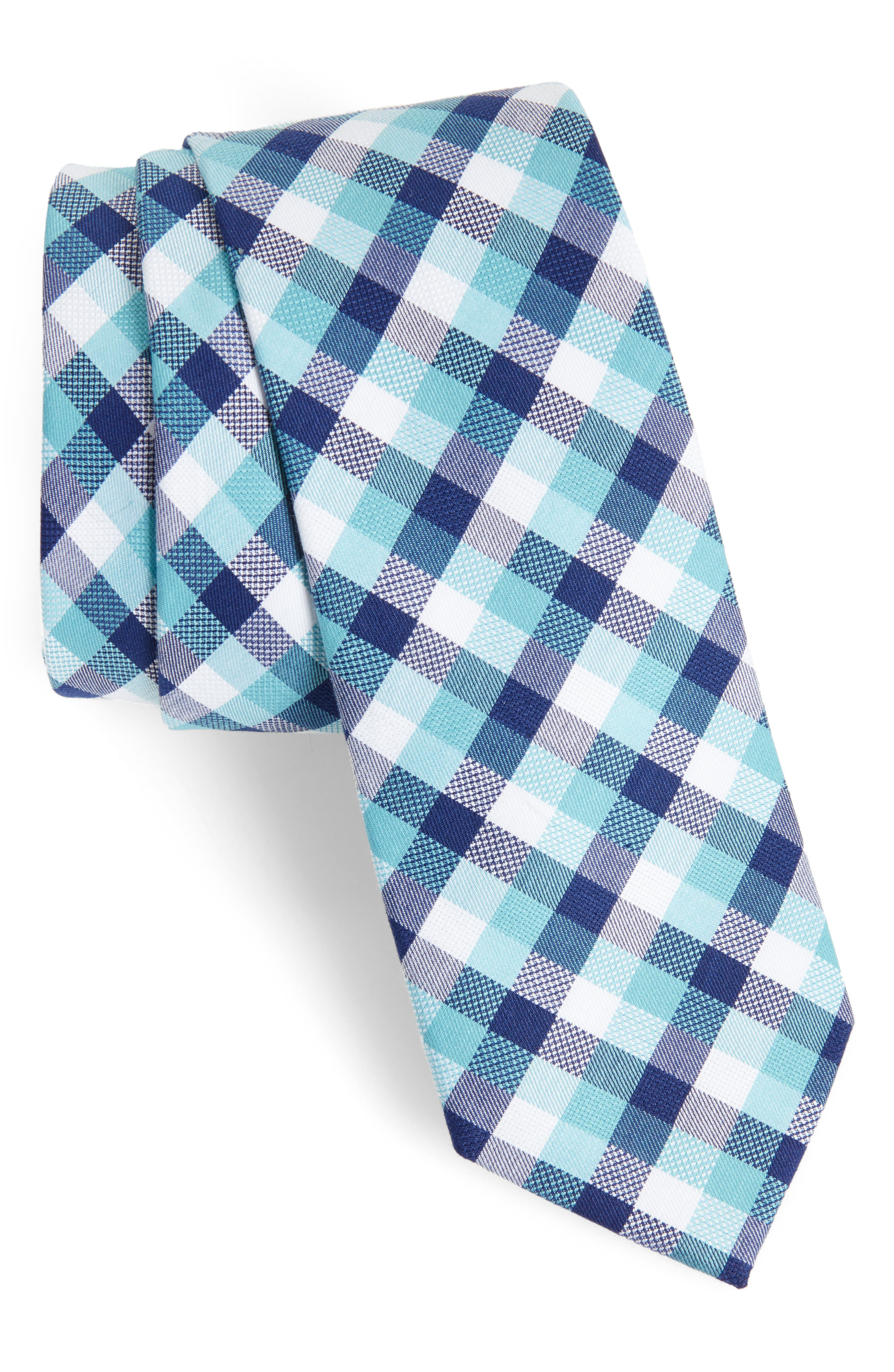 Scott Check Cotton Skinny Tie,                             Main thumbnail 3, color,