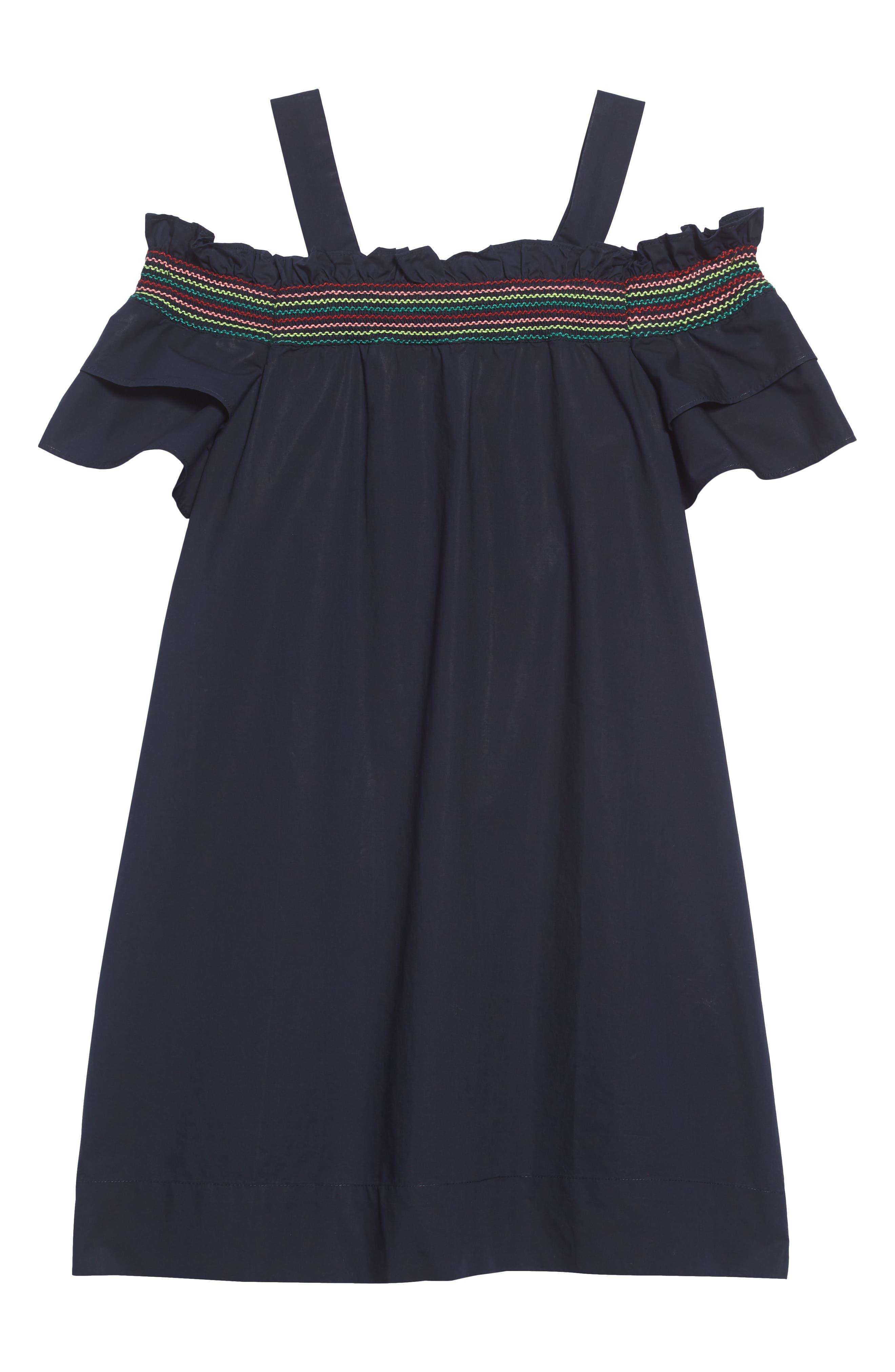 Rainbow Smocked Cold Shoulder Dress,                             Alternate thumbnail 2, color,                             400