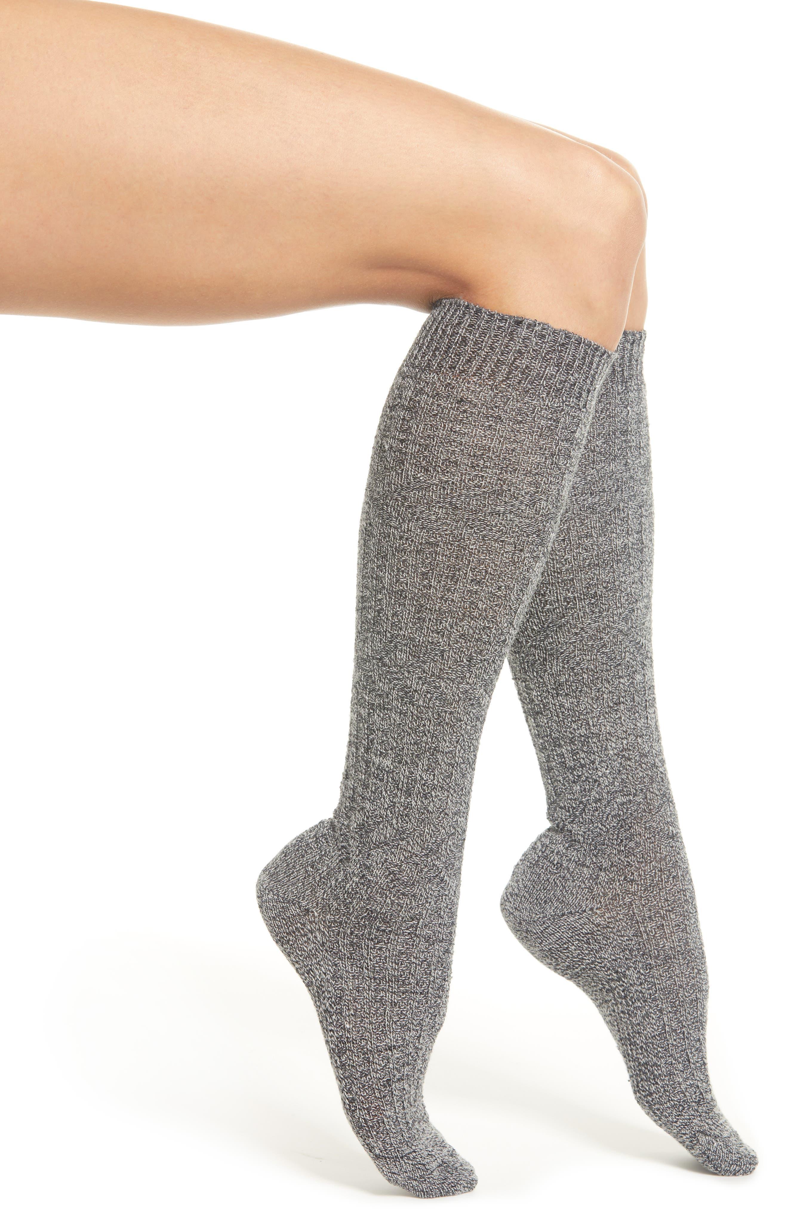 Wheat Fields Knee High Socks,                         Main,                         color, CHARCOAL HEATHER-WINTER WHITE