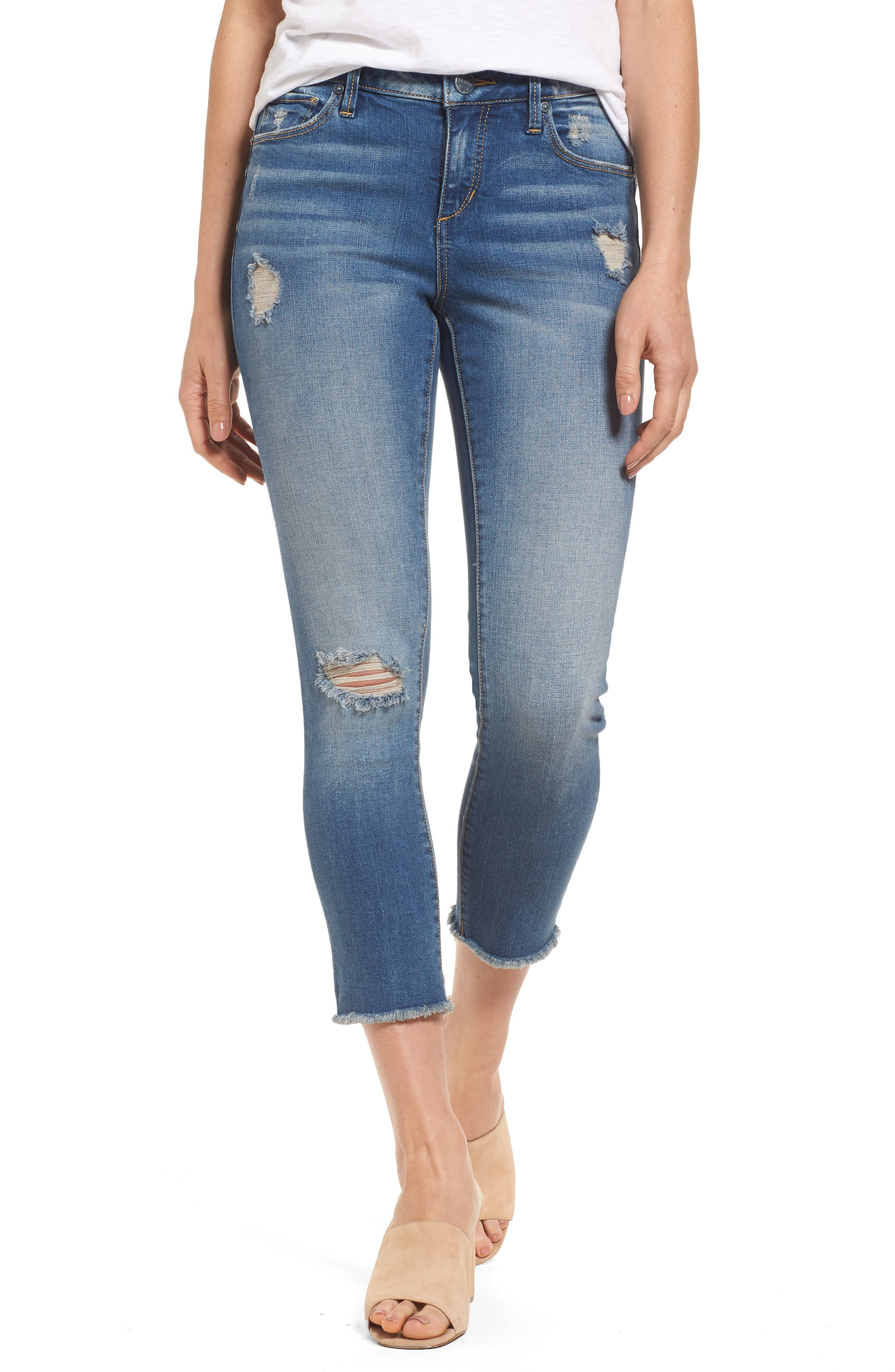 Frayed Hem Crop Jeans,                             Main thumbnail 1, color,                             CARALYN