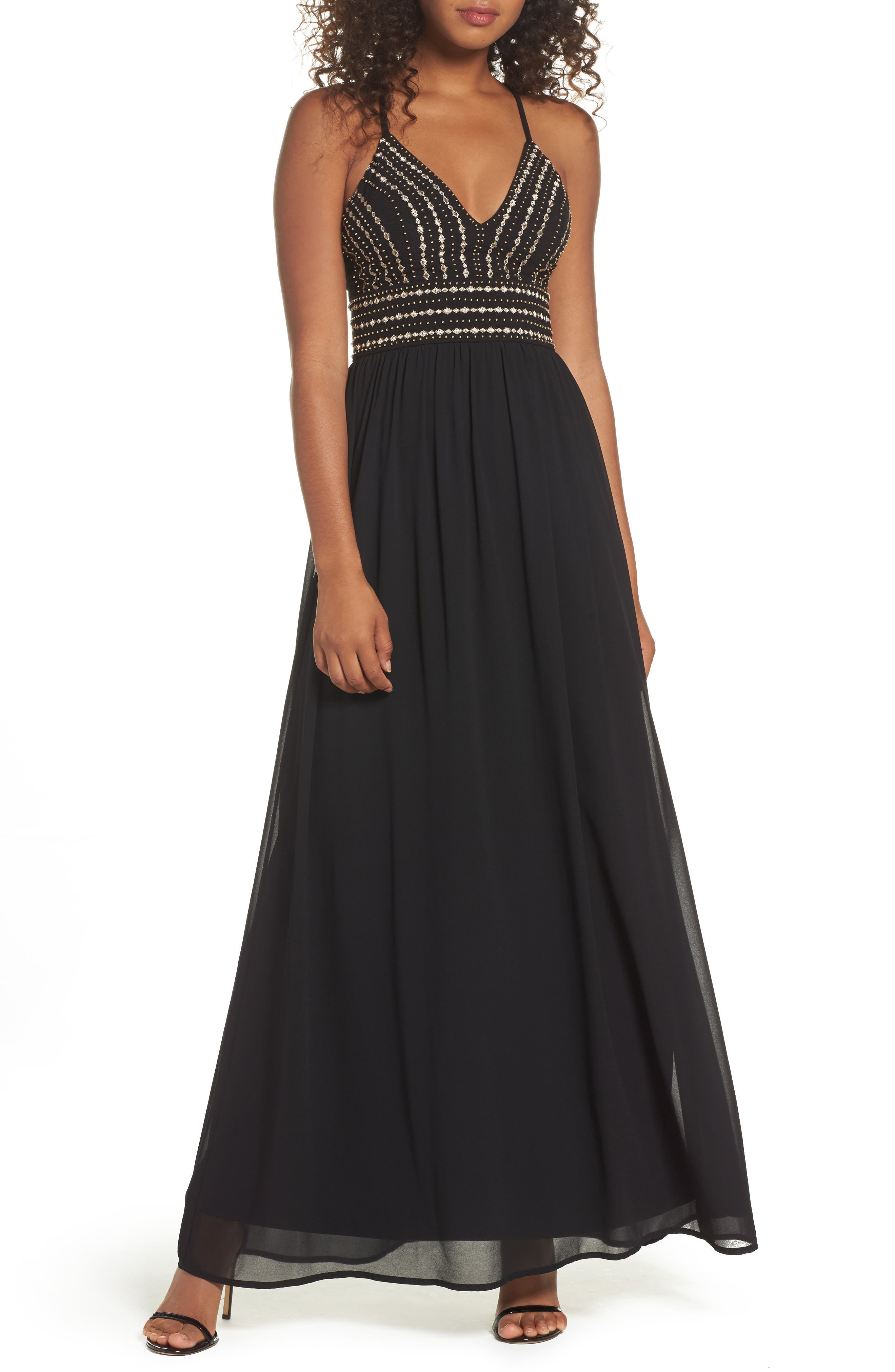 Glamorous Gala Embellished Maxi Dress,                         Main,                         color, BLACK