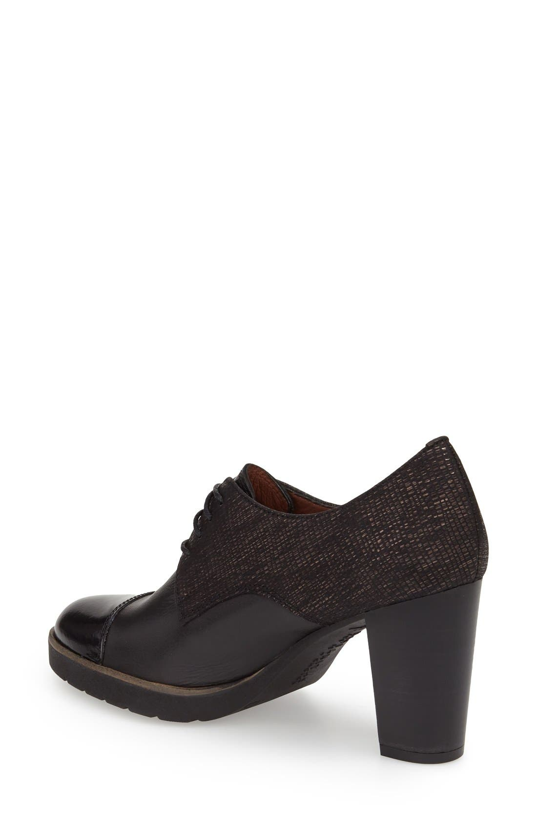'Viv' Cap Toe Pump,                             Alternate thumbnail 2, color,                             BLACK LEATHER