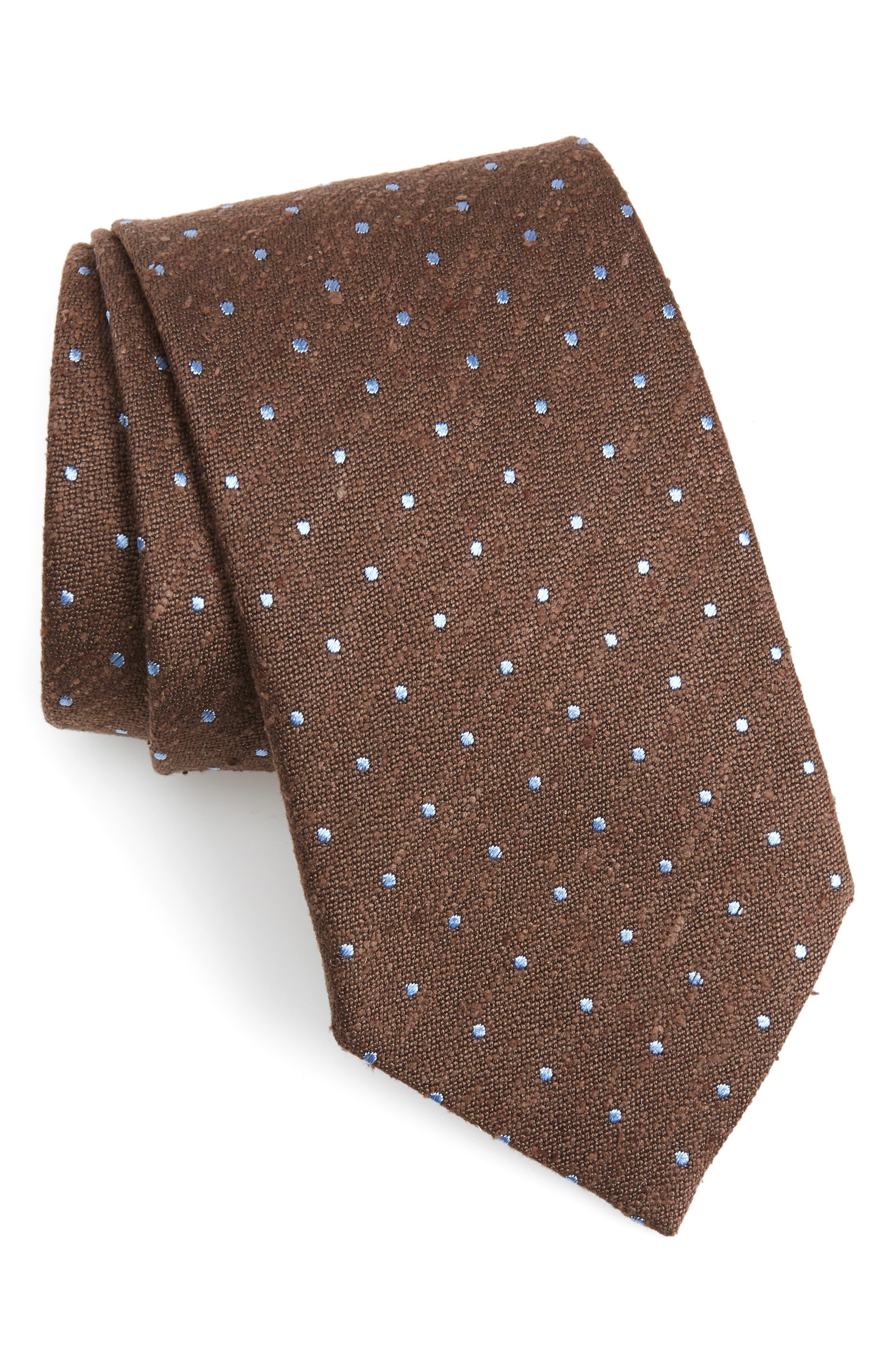 Ermengildo Zegna Dot Silk Tie,                             Main thumbnail 1, color,                             BROWN DOT