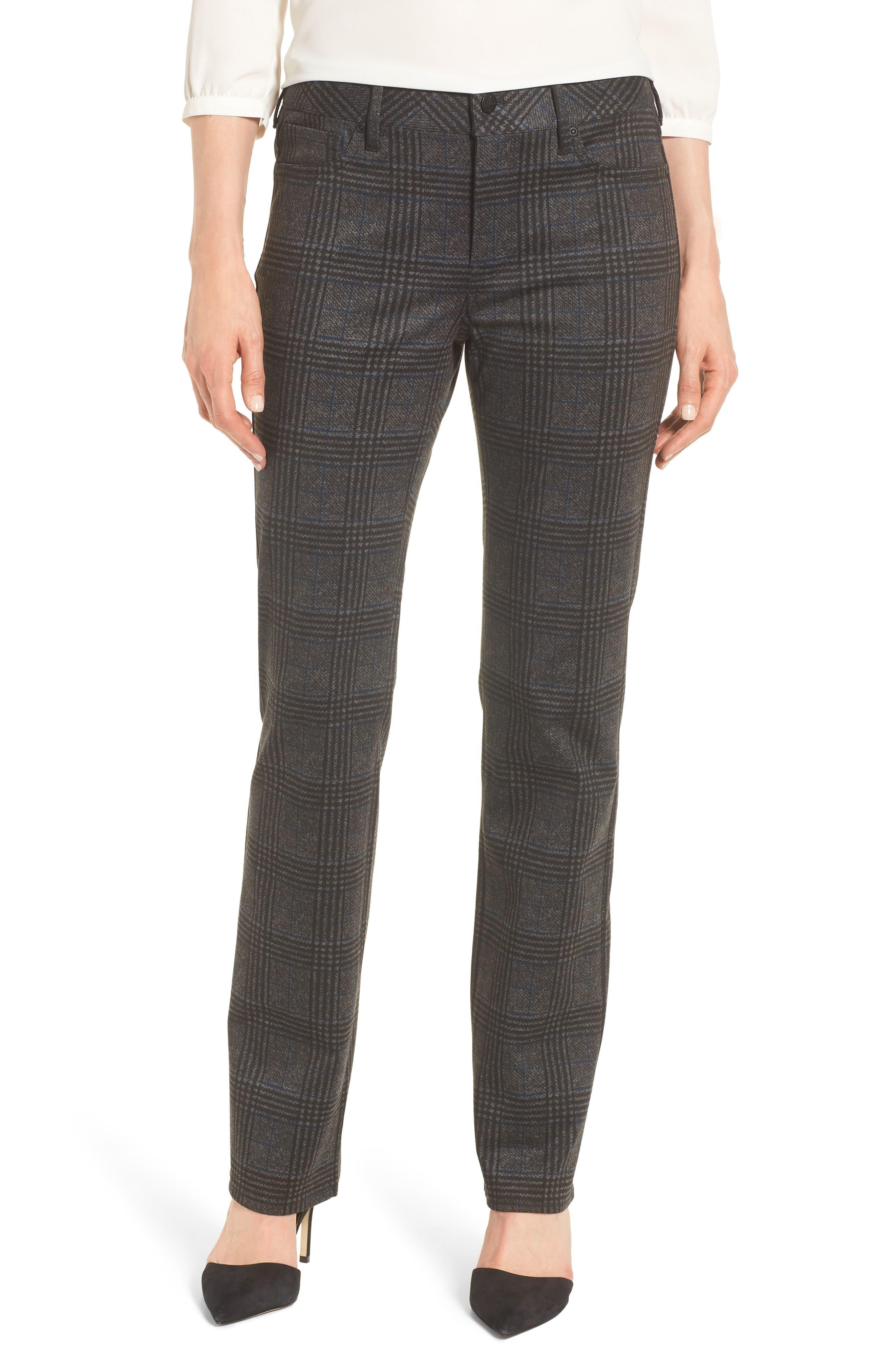 Marilyn Straight Leg Ponte Pants,                         Main,                         color, PLAID PONTE
