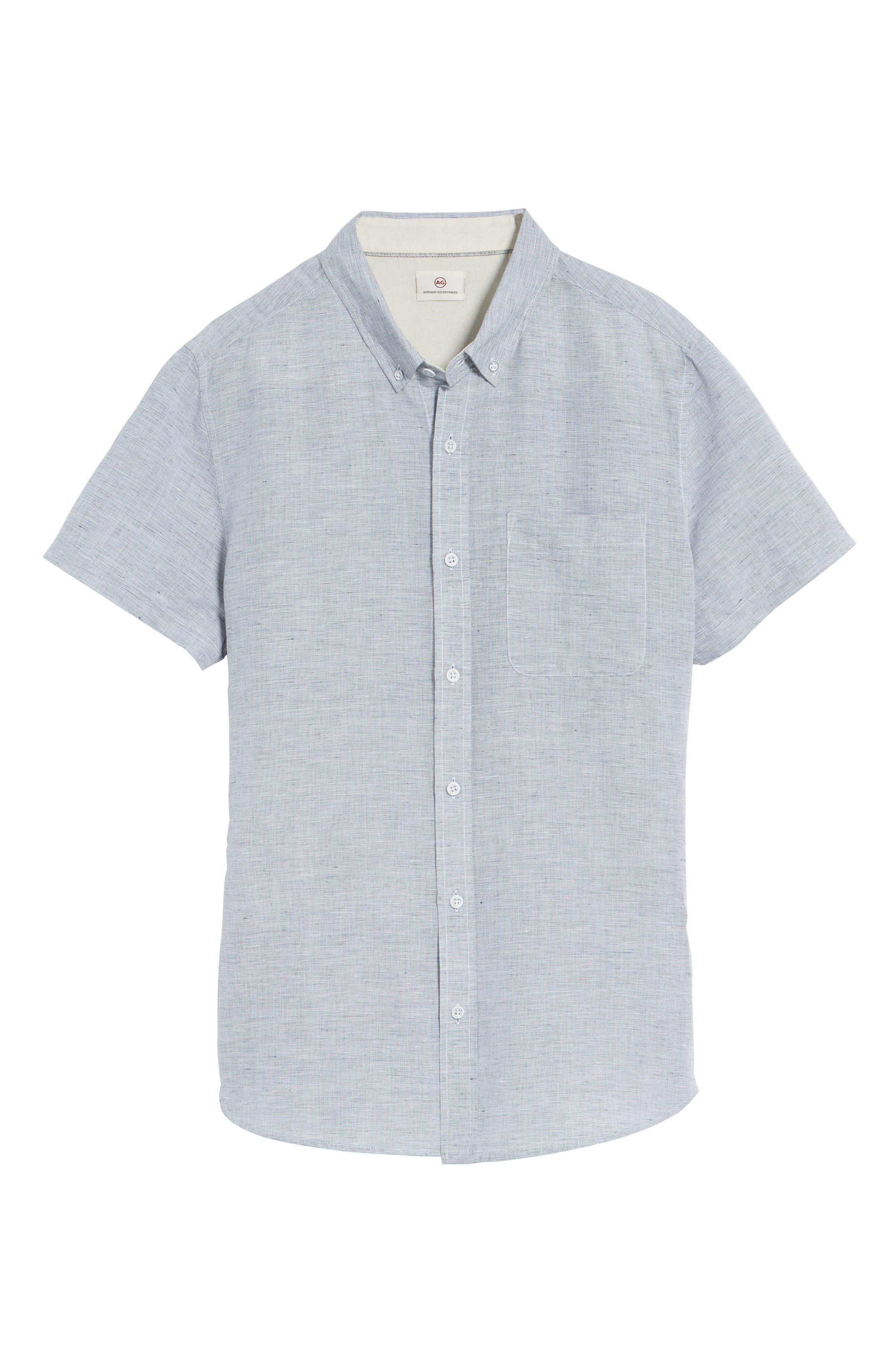 Nash Slim Fit Linen & Cotton Sport Shirt,                             Alternate thumbnail 6, color,                             020