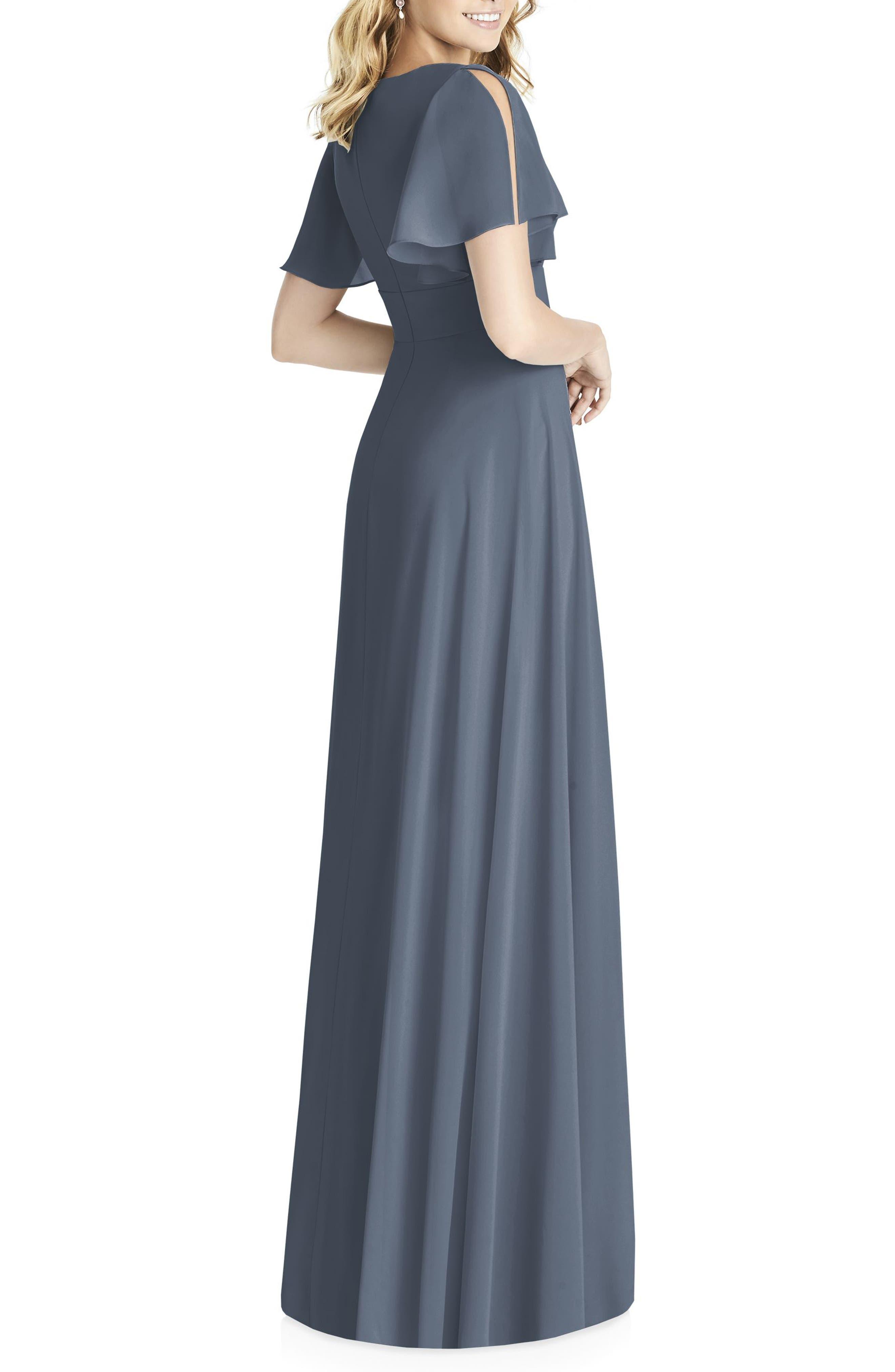 Split Sleeve Chiffon Gown,                             Alternate thumbnail 2, color,                             SILVERSTONE