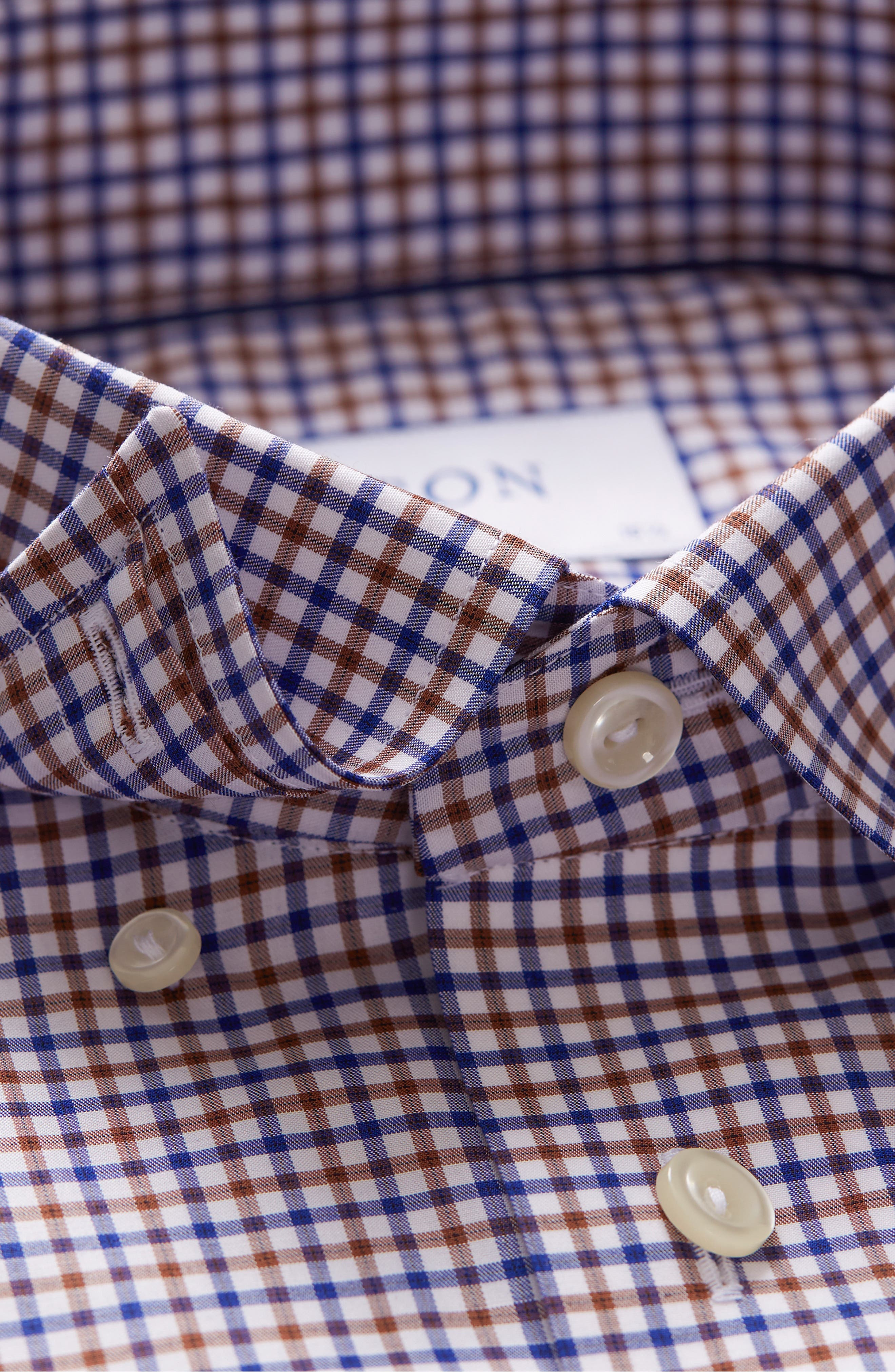 Contemporary Fit Check Dress Shirt,                             Alternate thumbnail 3, color,                             BROWN