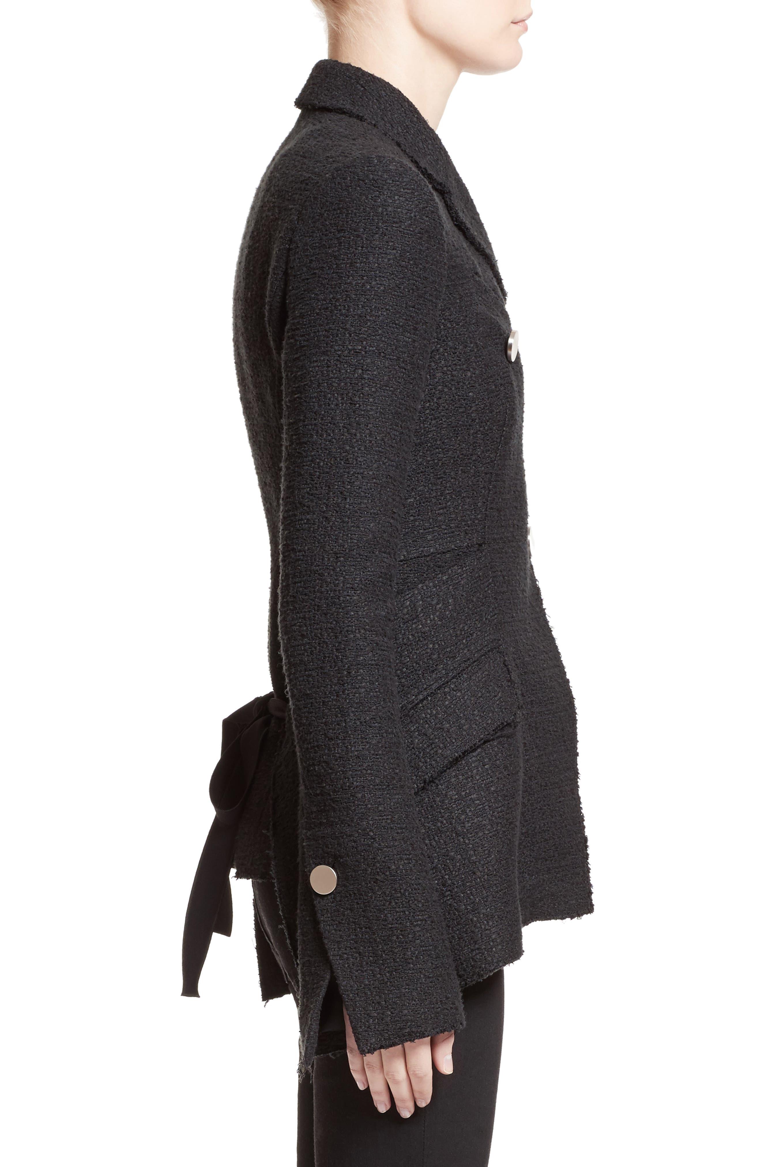 Asymmetrical Tweed Jacket,                             Alternate thumbnail 3, color,                             001