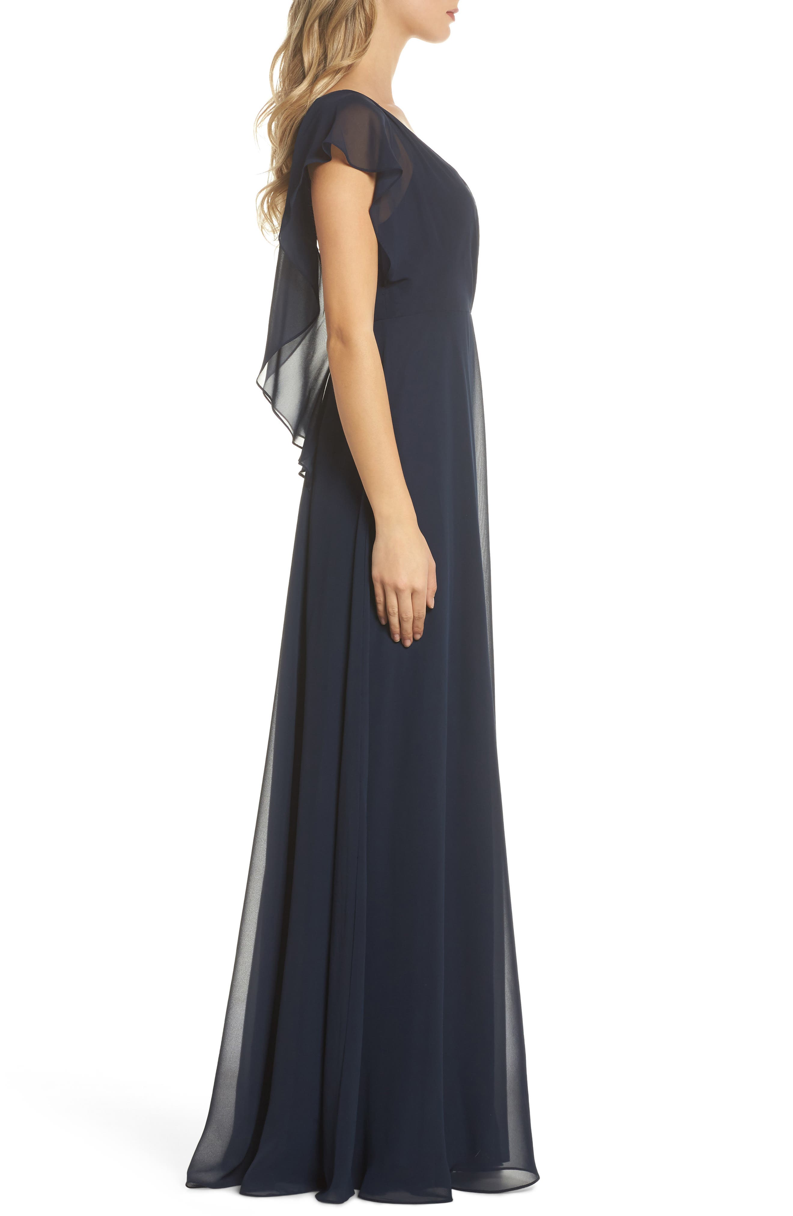 Alanna Open Back Chiffon Gown,                             Alternate thumbnail 3, color,                             NAVY