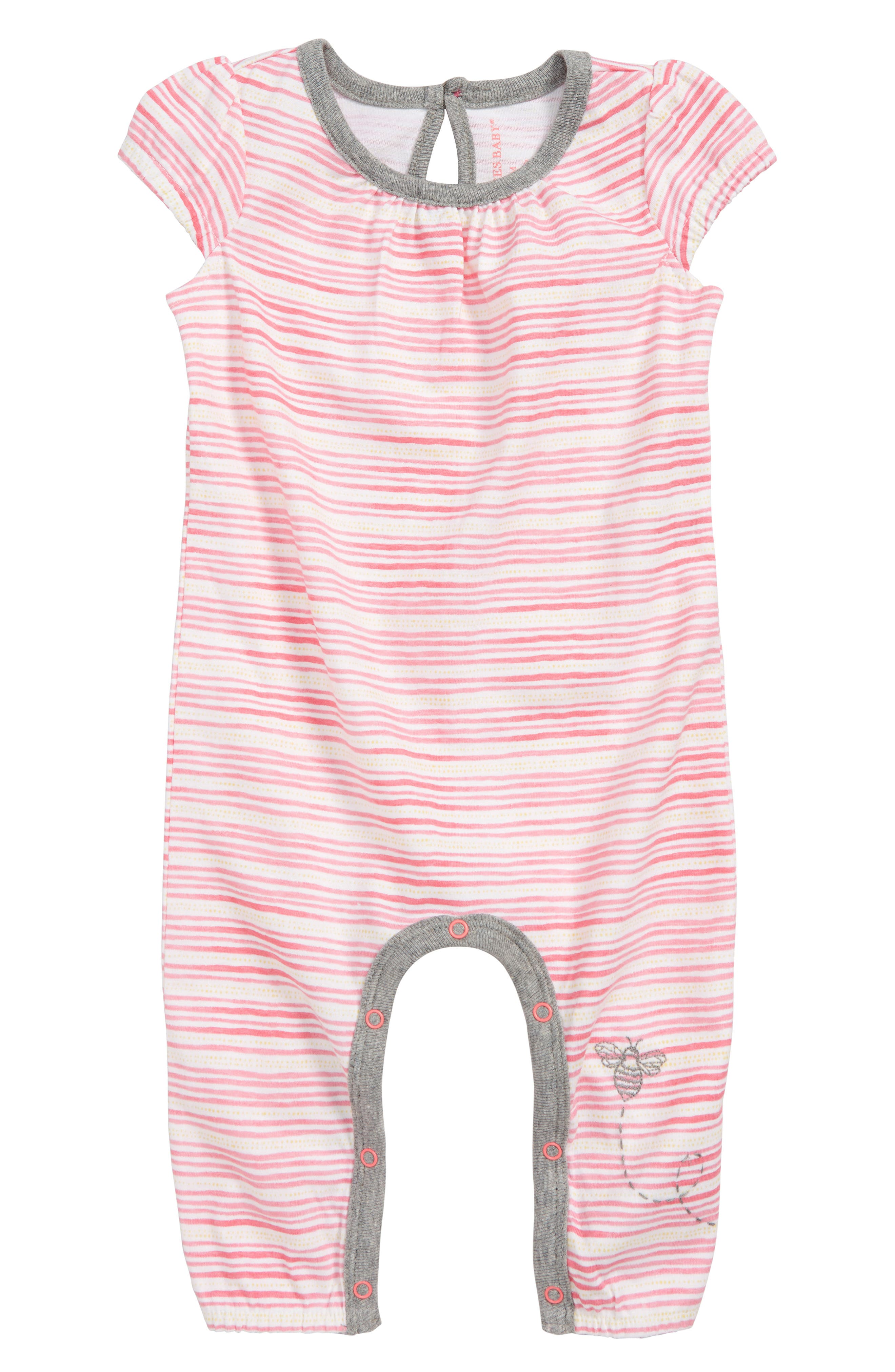 On the Road Organic Cotton Romper,                             Main thumbnail 1, color,                             PINK POPPY