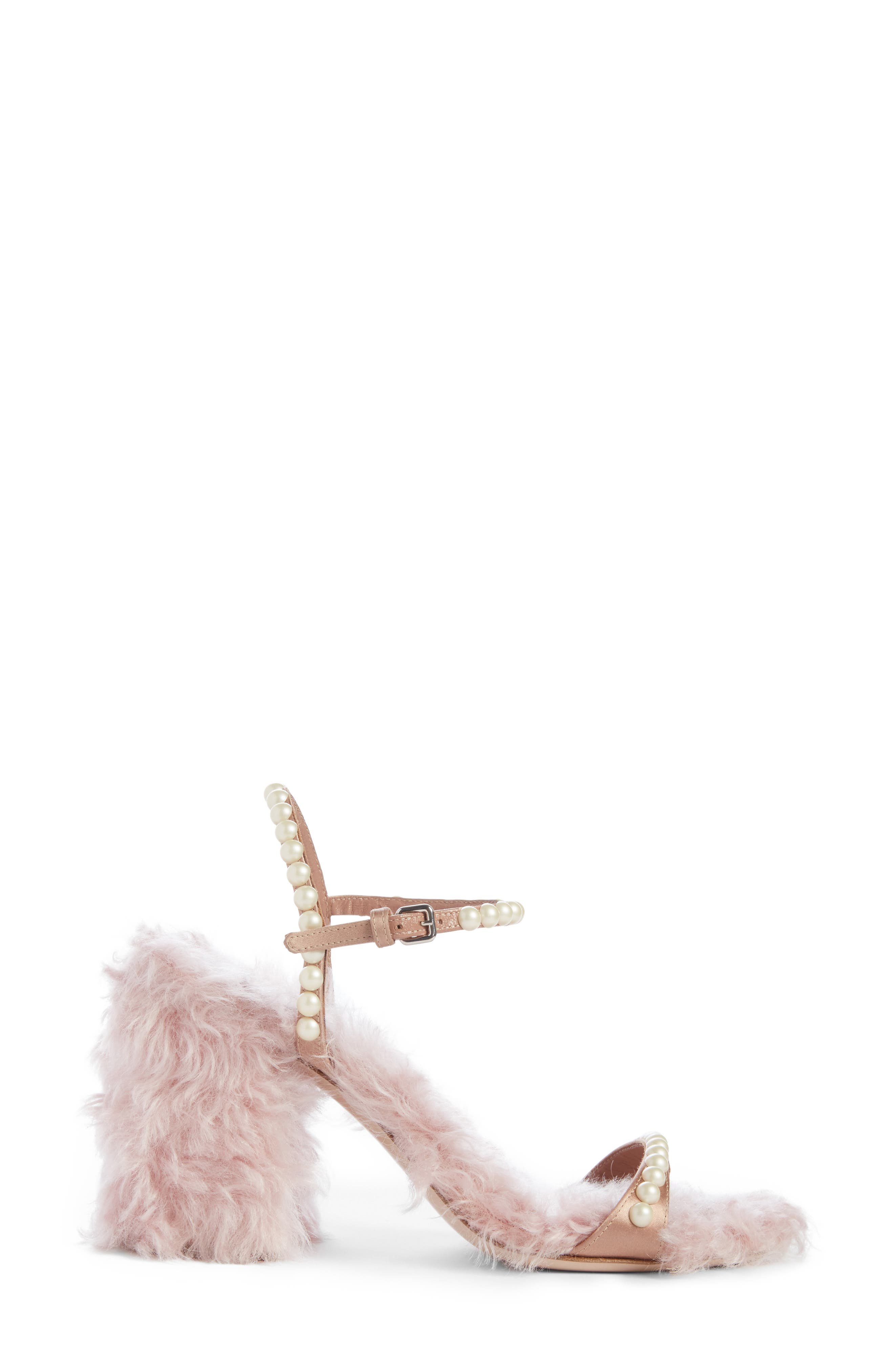 Imitation Pearl Embellished Faux Fur Sandal,                             Alternate thumbnail 4, color,                             650